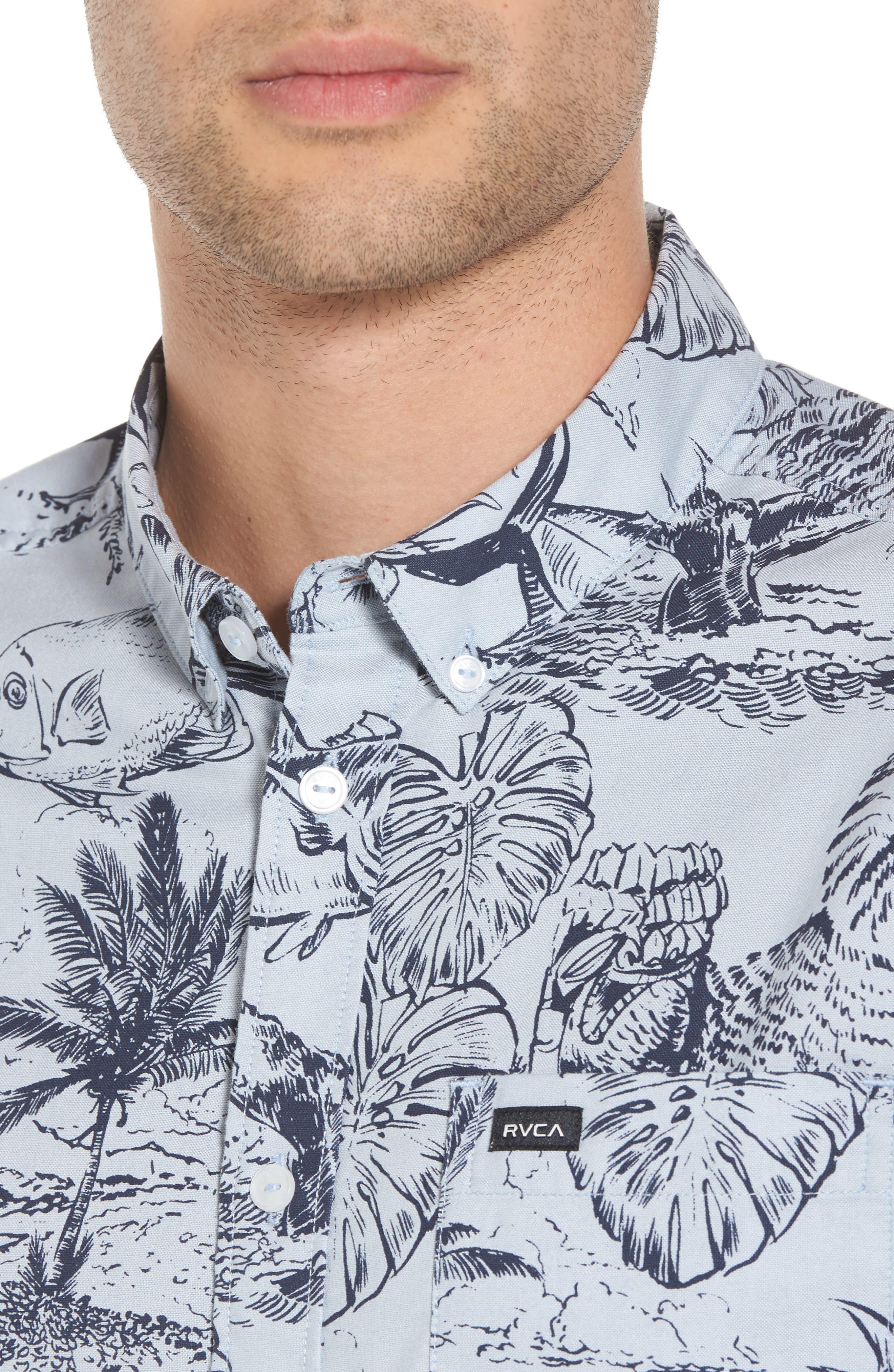Aloha Woven Shirt,                             Alternate thumbnail 4, color,                             Deja Blue