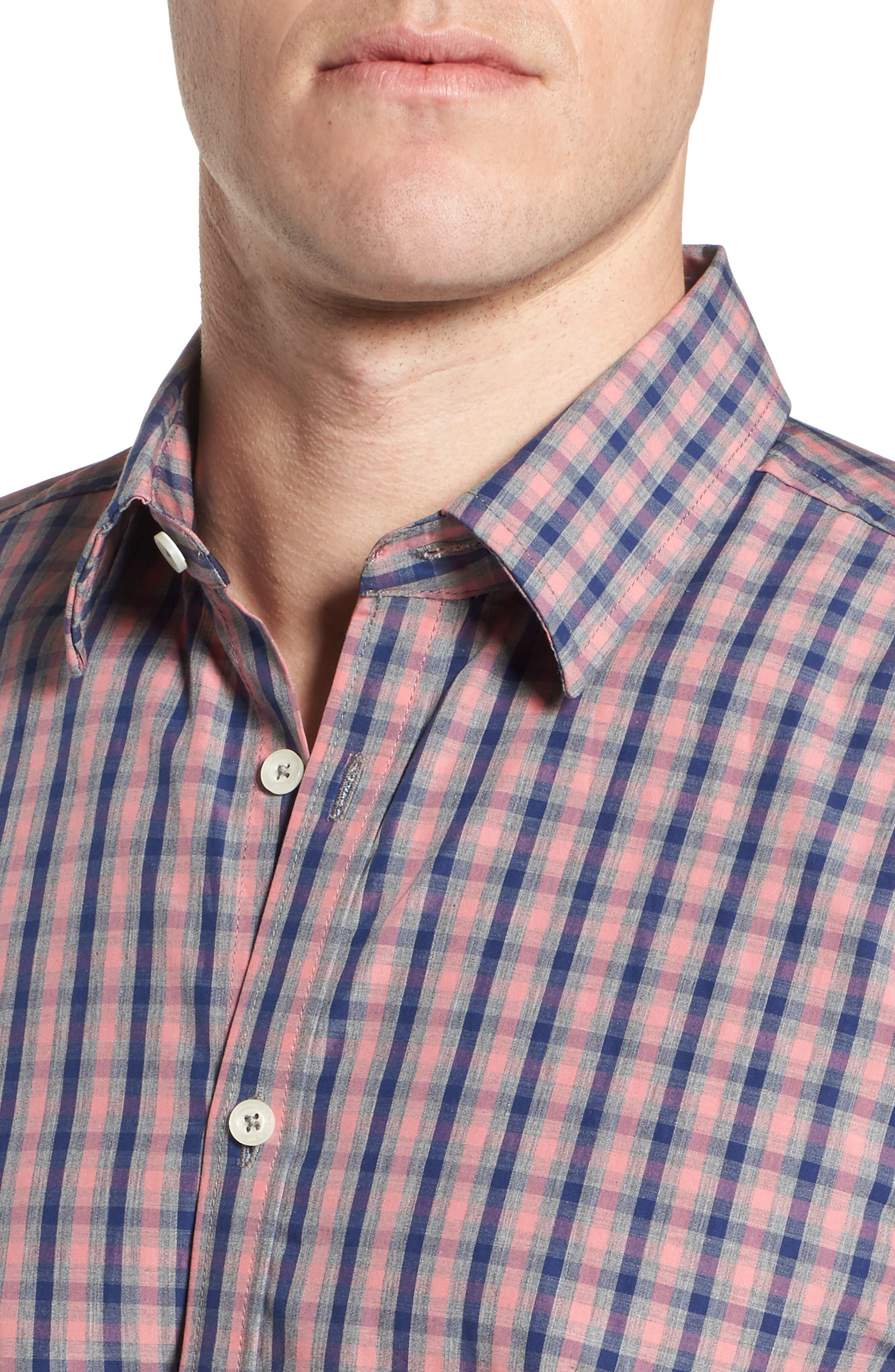 Fitted Plaid Sport Shirt,                             Alternate thumbnail 4, color,                             Open Orange