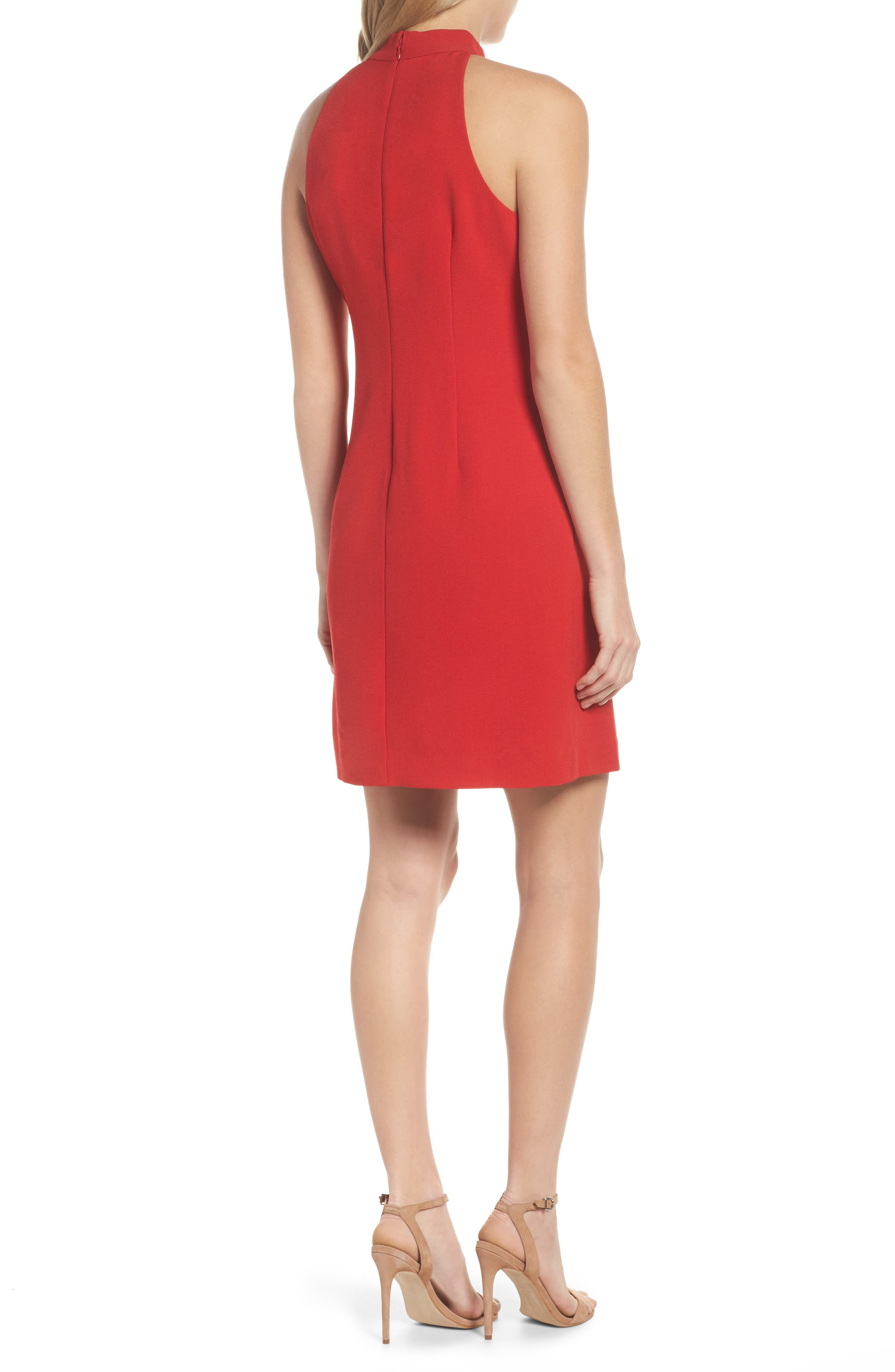 A-Line Dress,                             Alternate thumbnail 3, color,                             Red