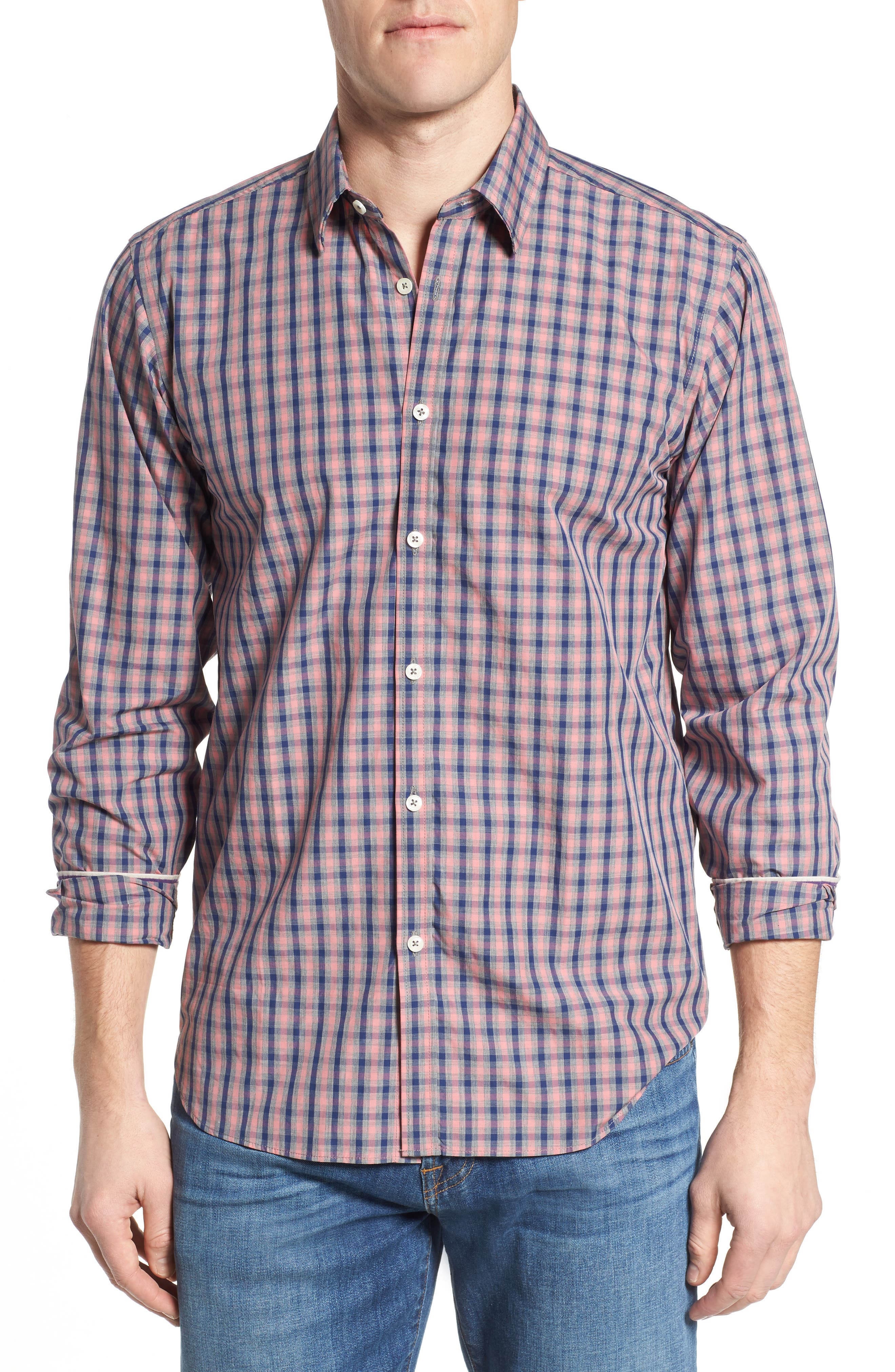 Fitted Plaid Sport Shirt,                         Main,                         color, Open Orange