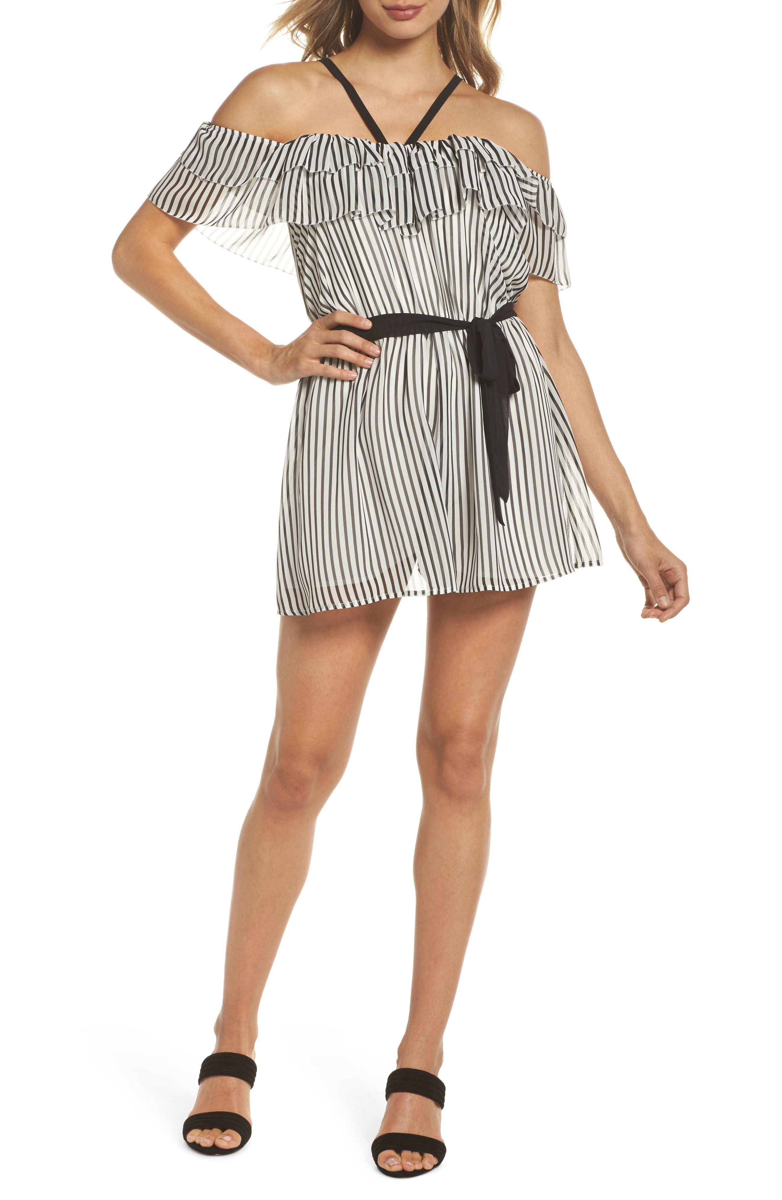 Toes in the Sand Romper,                             Main thumbnail 1, color,                             Black/ White Stripe