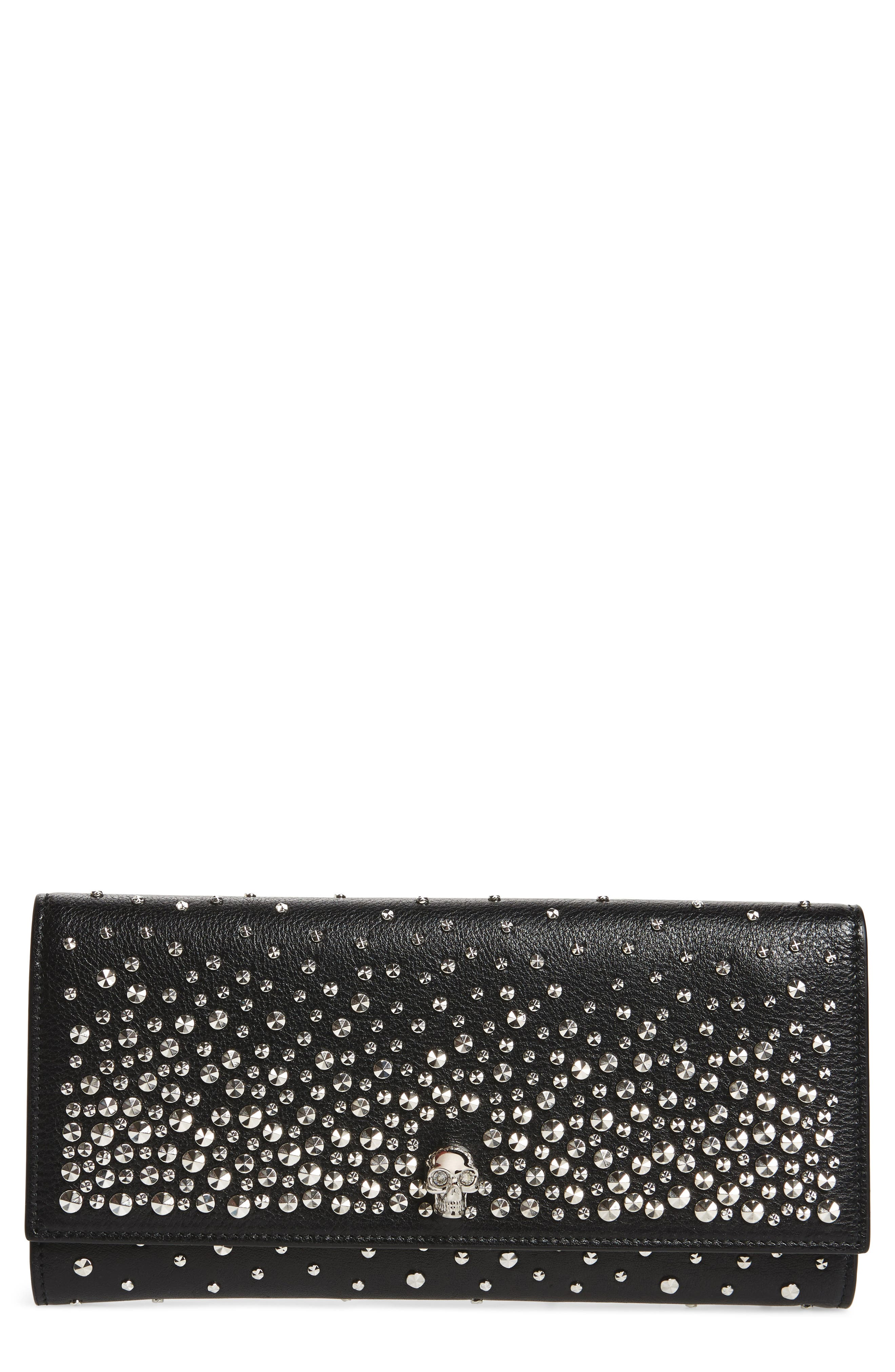 Studded Leather Travel Wallet,                             Main thumbnail 1, color,                             Black