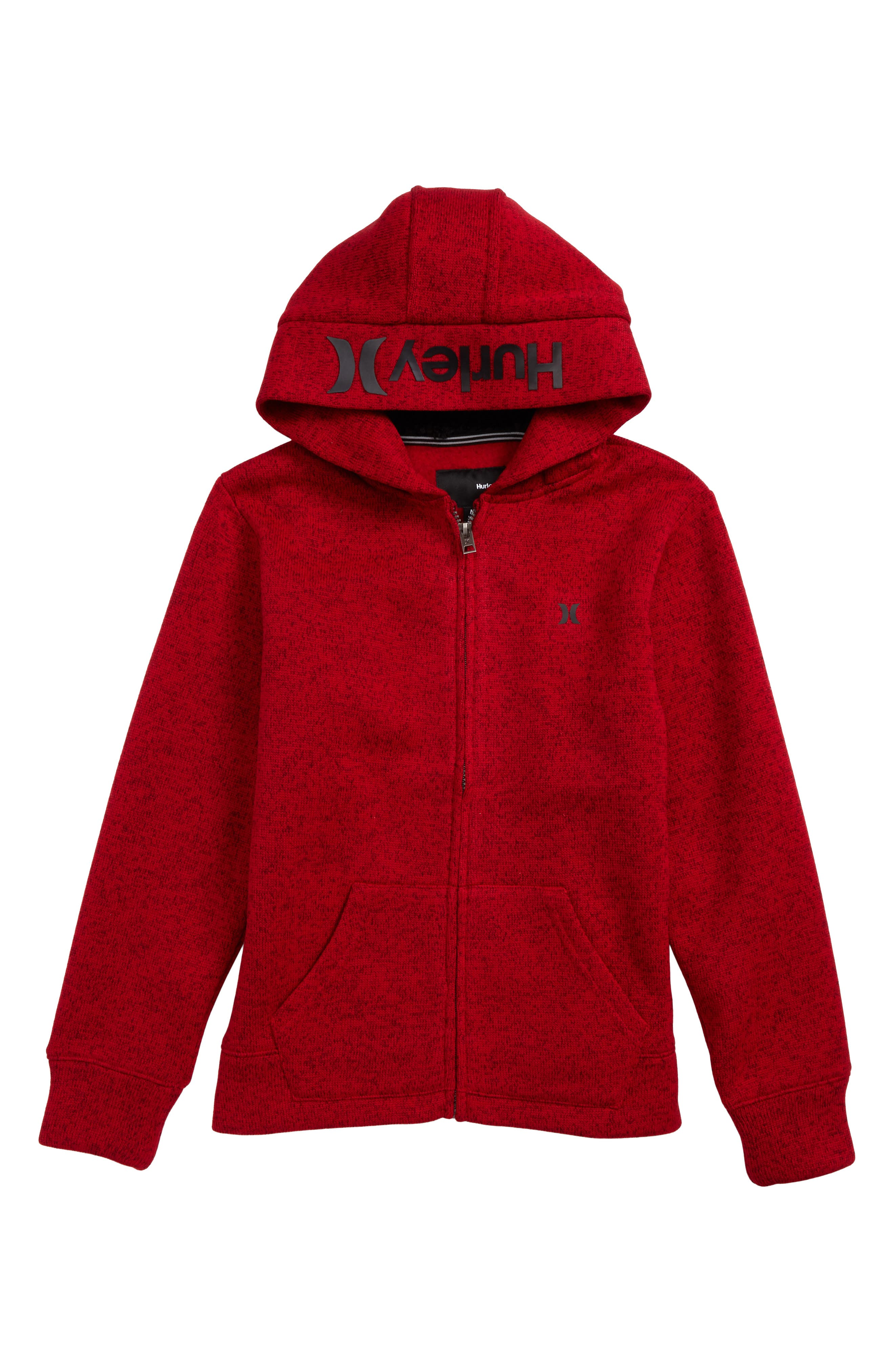 Knit Fleece Zip Hoodie,                         Main,                         color, Flash Red