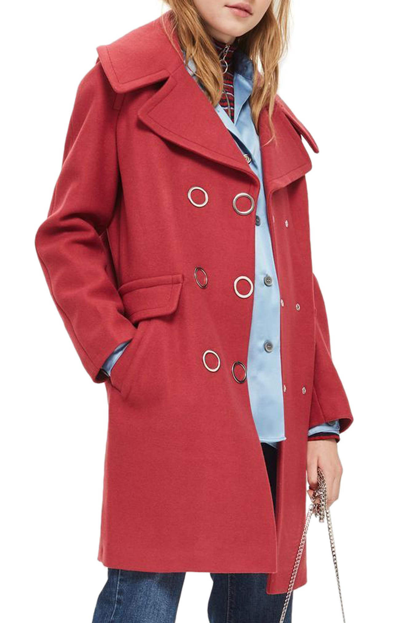 Ring Popper Cocoon Coat,                             Main thumbnail 1, color,                             Light Red