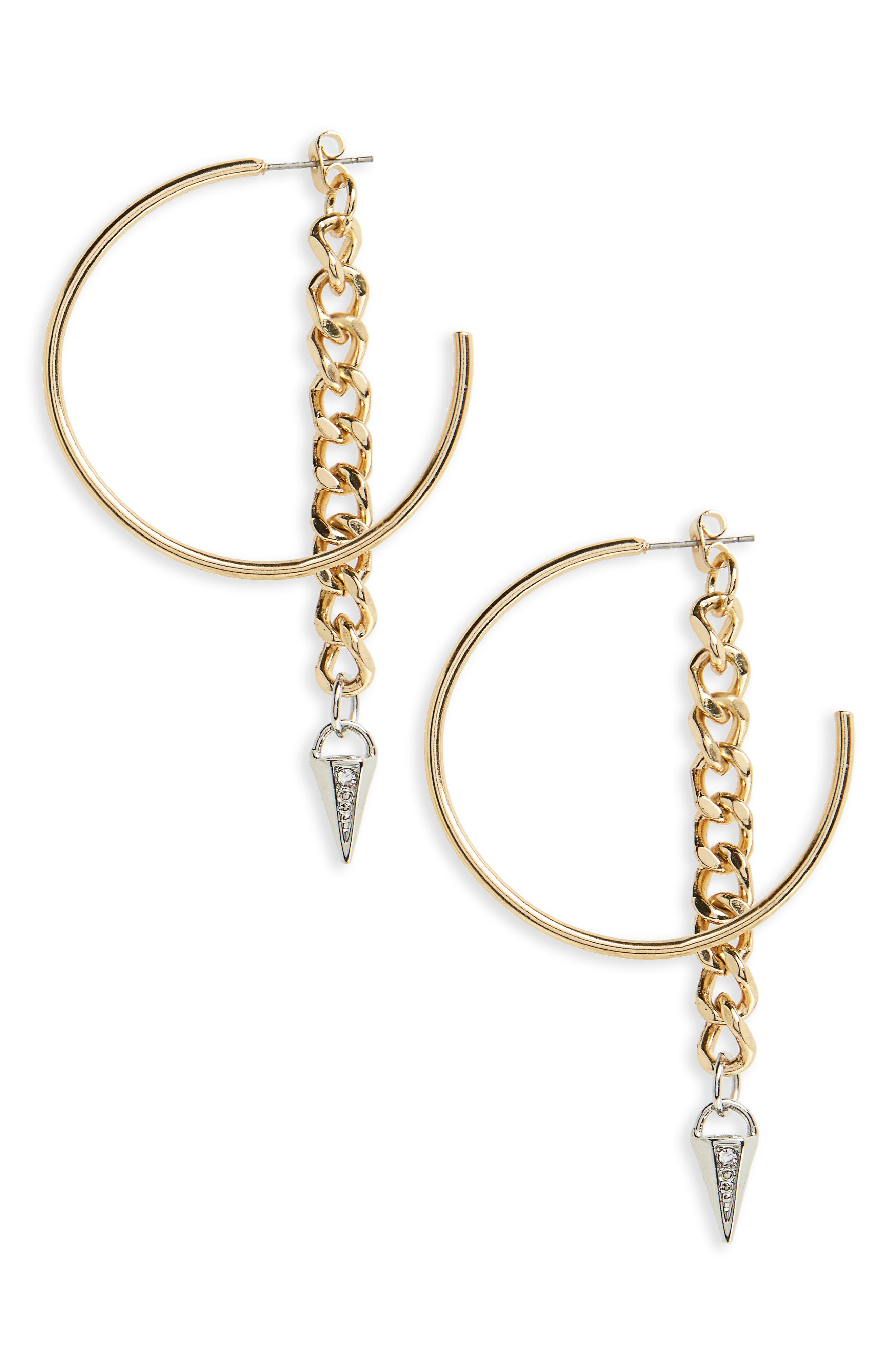 Hoop with Chain & Spear Drop Earrings,                         Main,                         color, Silver/ Gold