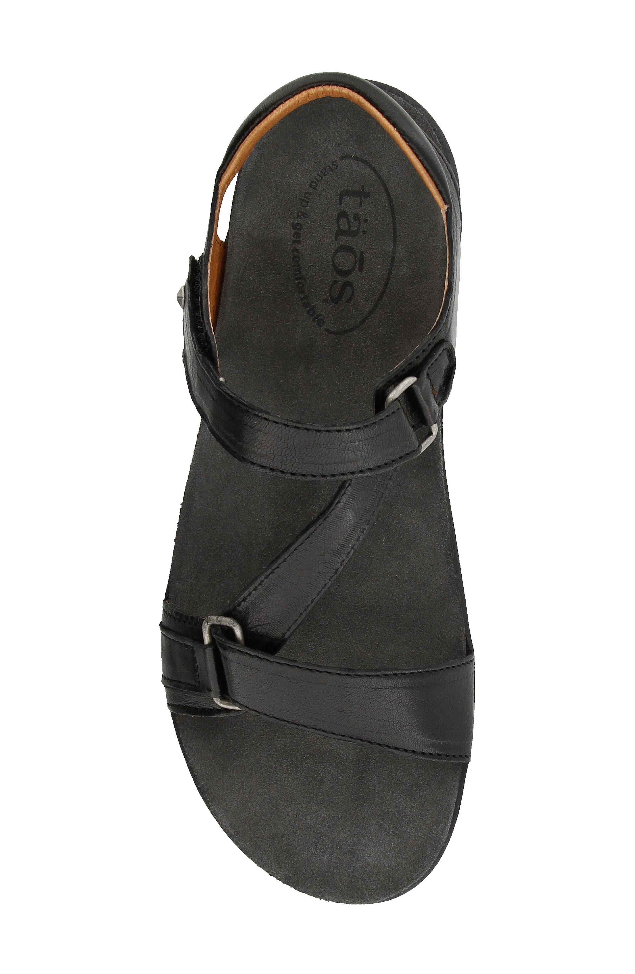 Zeal Sandal,                             Alternate thumbnail 4, color,                             Black Leather
