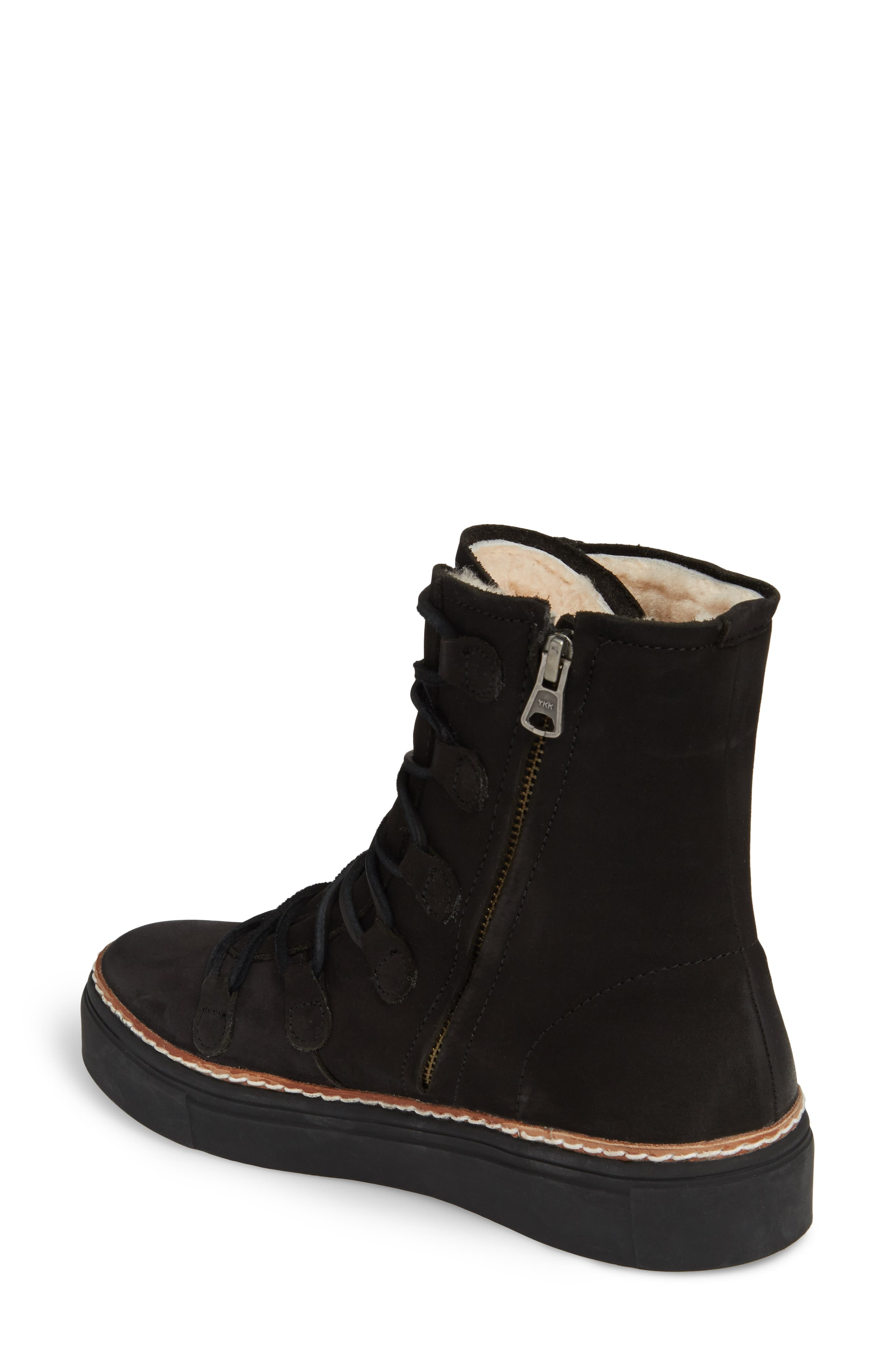 OL26 Genuine Shearling Lined Lace-Up Bootie,                             Alternate thumbnail 2, color,                             Black Nubuck Leather