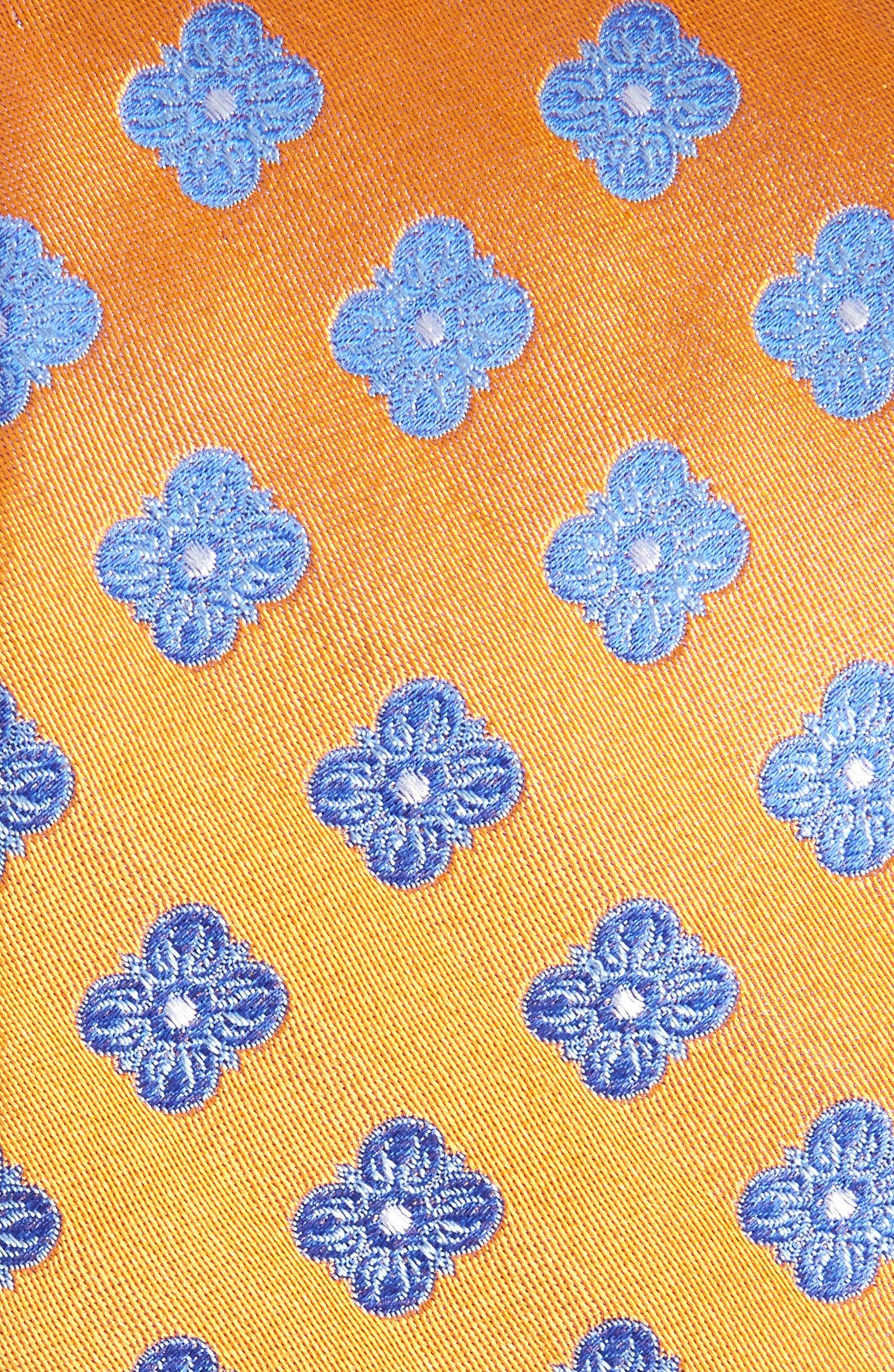 Cameron Floral Medallion Silk Tie,                             Alternate thumbnail 2, color,                             Orange