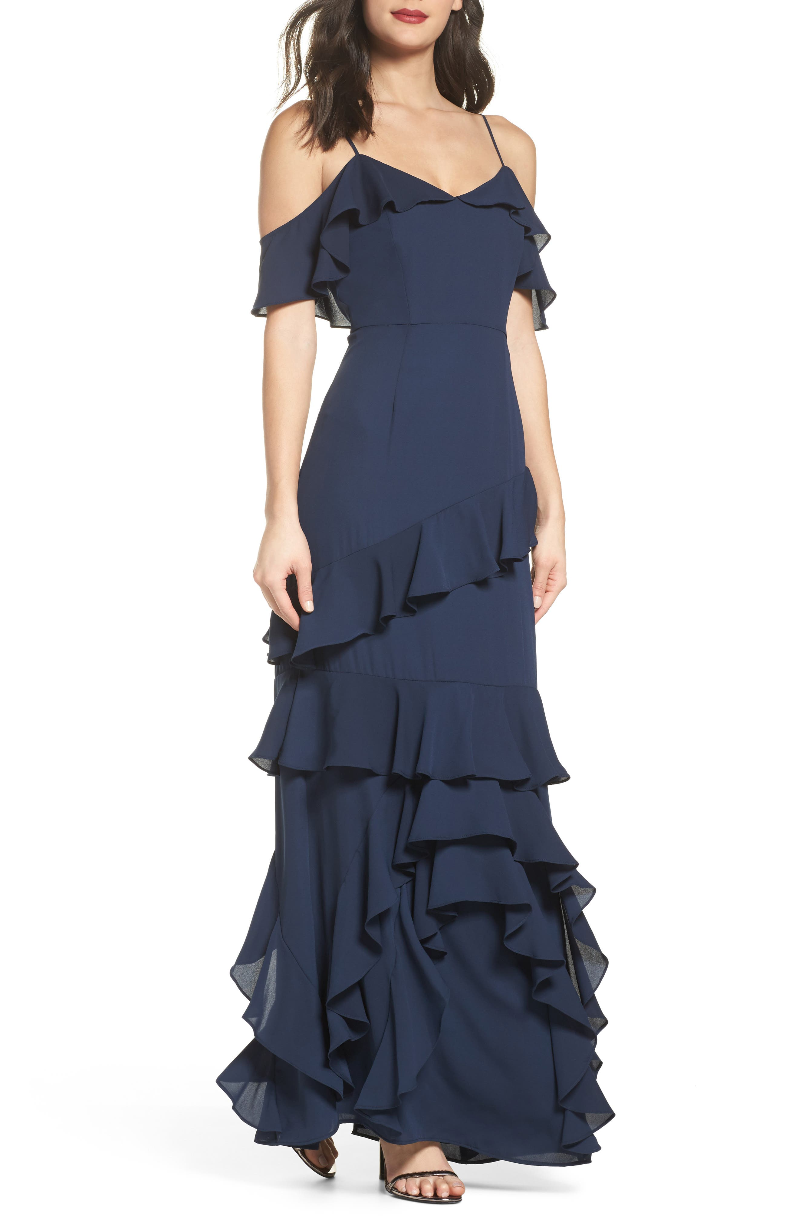 Danielle Off the Shoulder Tiered Crepe Dress,                             Main thumbnail 1, color,                             Navy