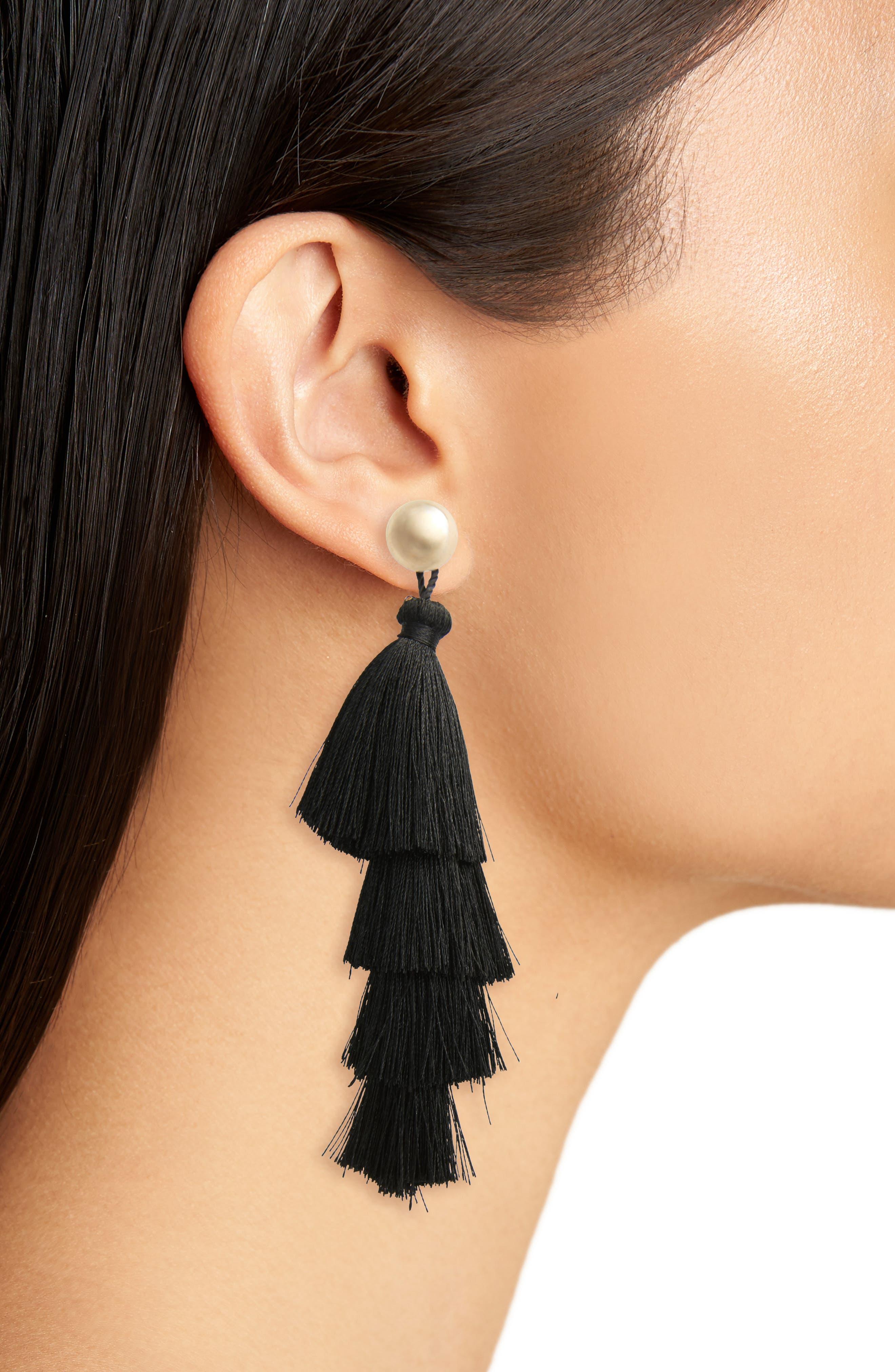 Tassel Earrings,                             Alternate thumbnail 2, color,                             Black/ Gold