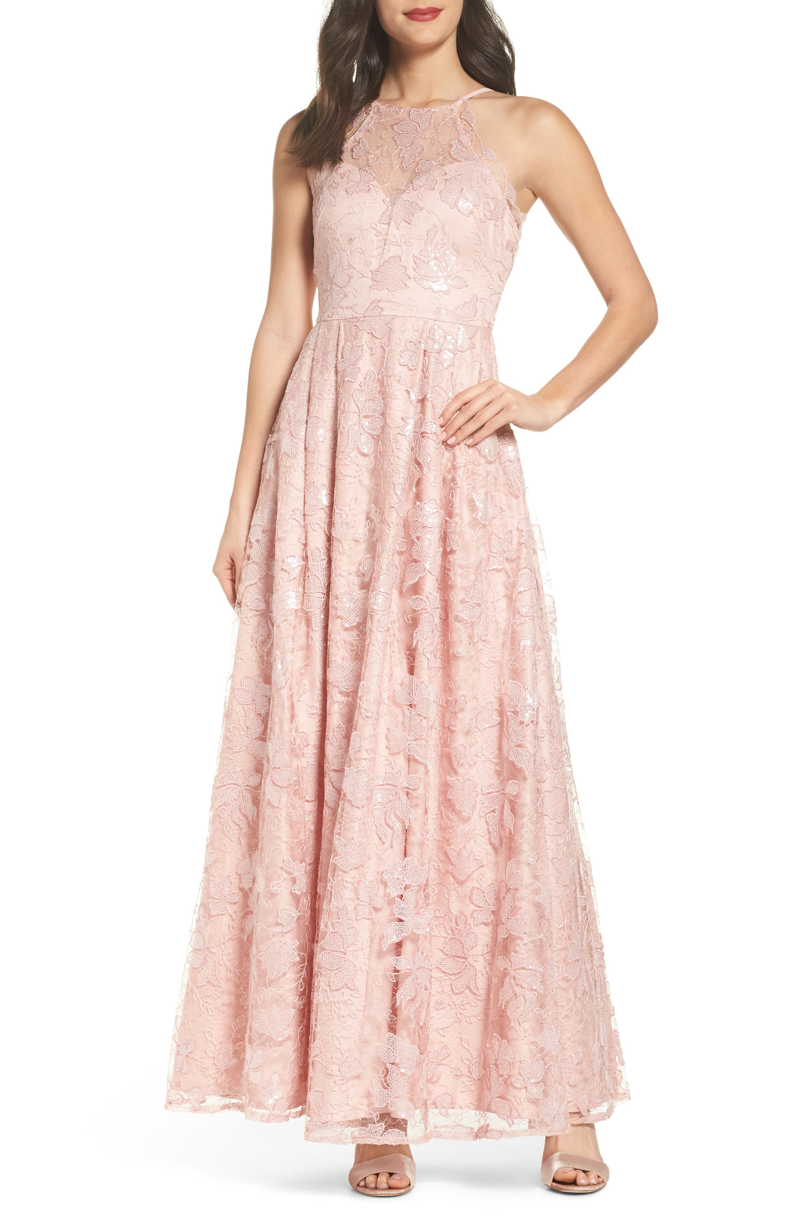 Lace-Up Back Embroidered Gown,                         Main,                         color, Blush