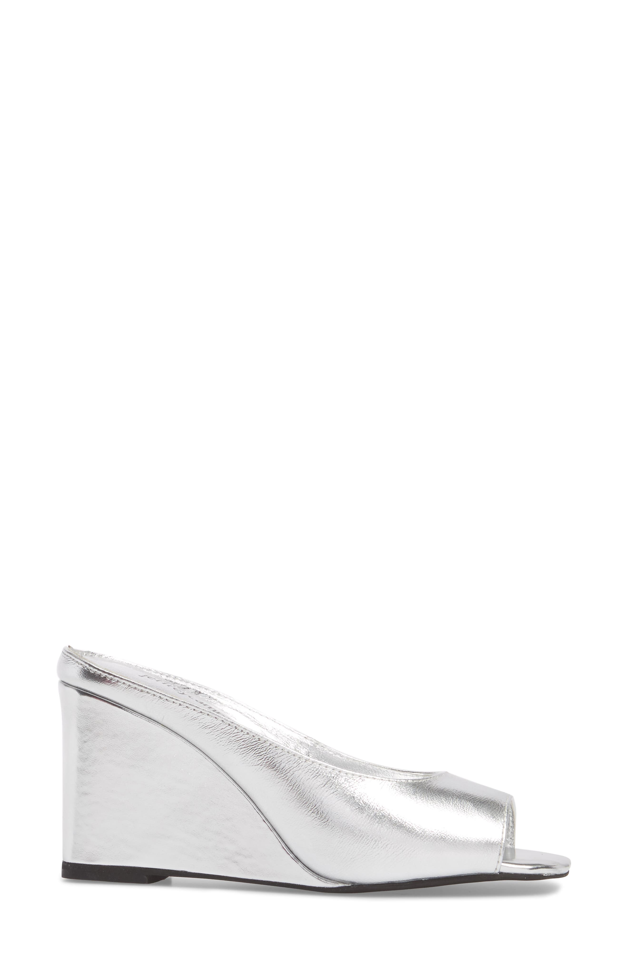 Generous Wedge Sandal,                             Alternate thumbnail 3, color,                             Silver Leather