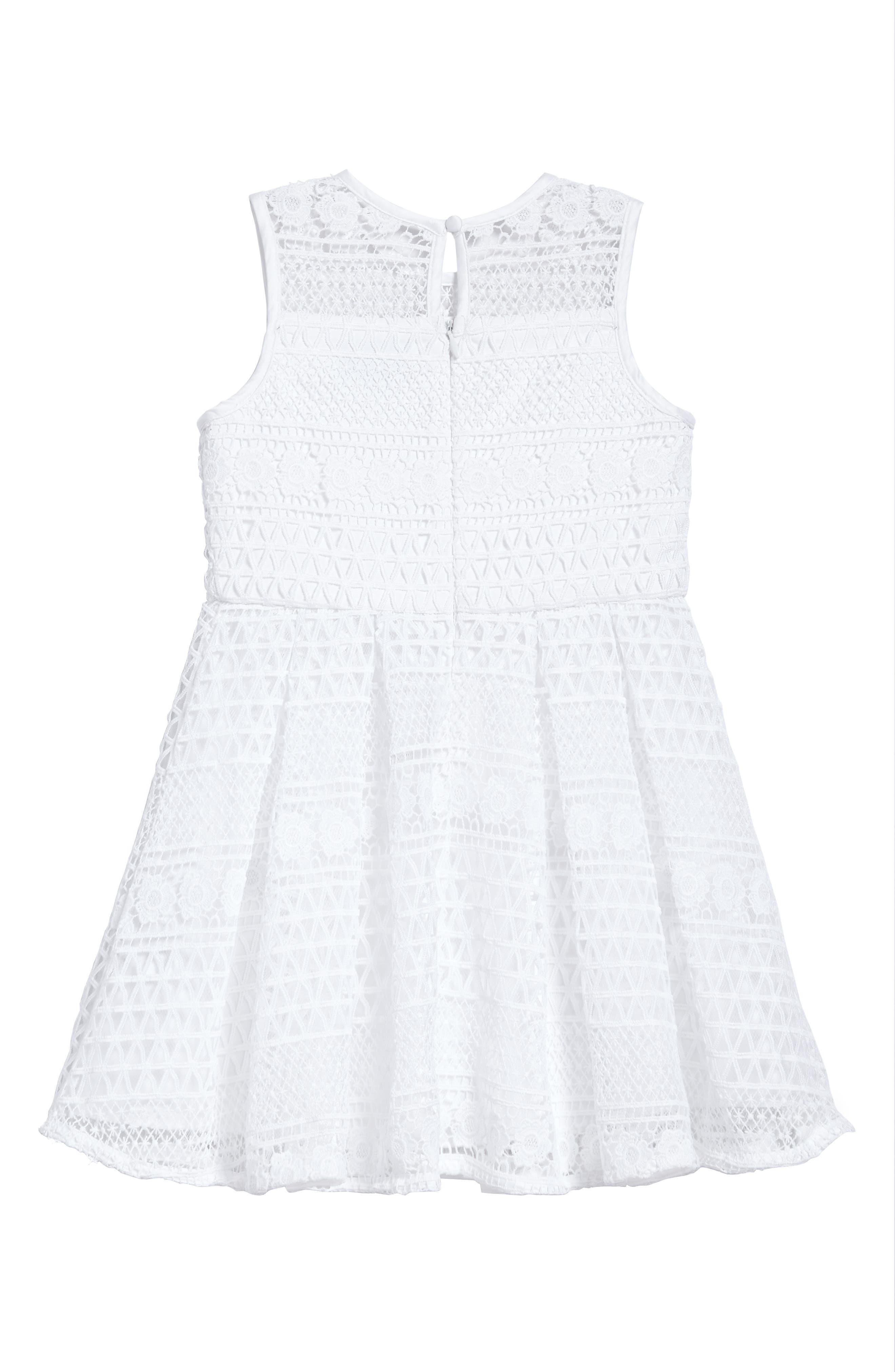 Linear Lace Dress,                             Alternate thumbnail 3, color,                             Ivory