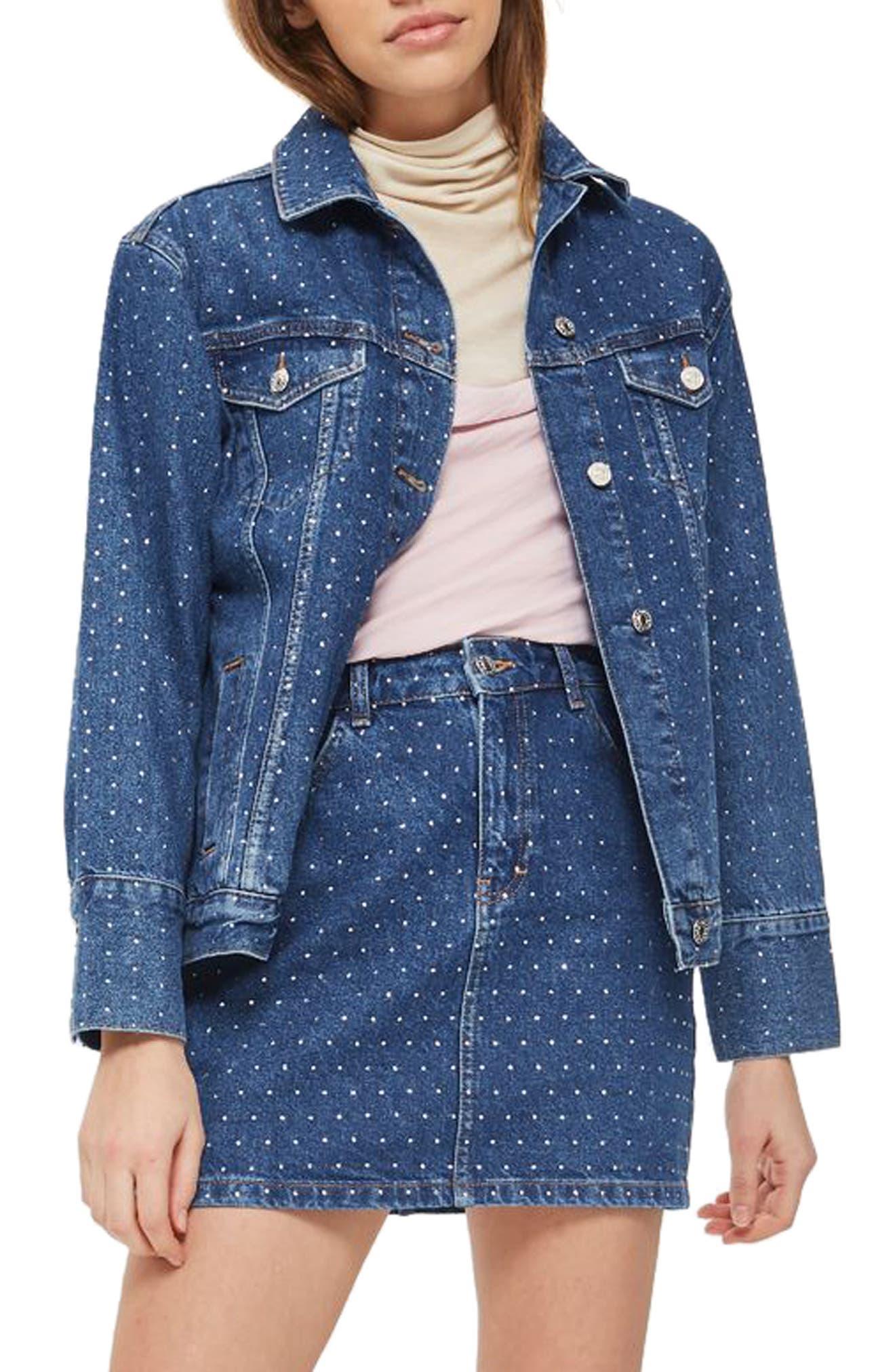 Crystal Studded Denim Jacket,                         Main,                         color, Mid Denim