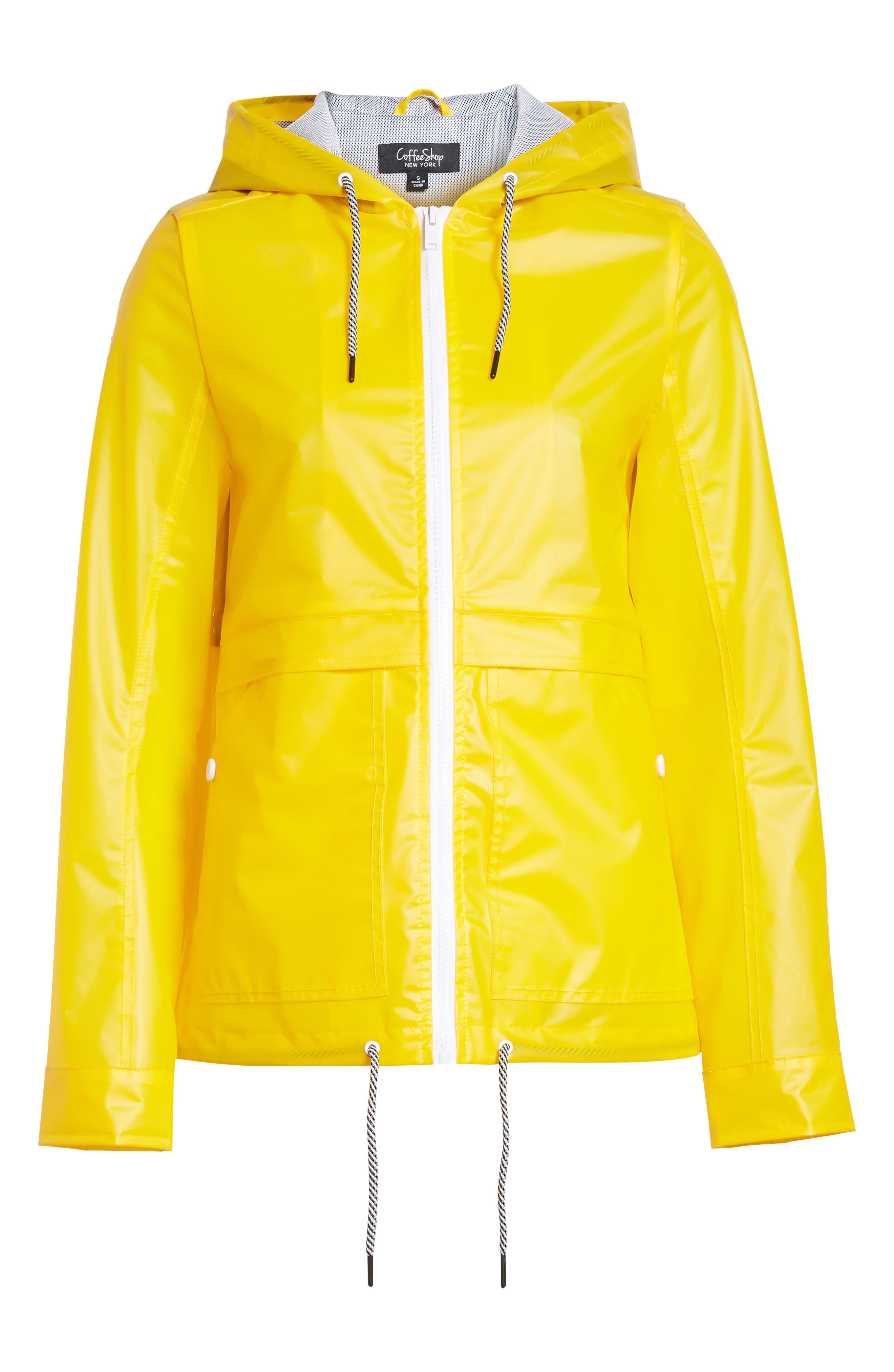 Water Resistant Raincoat,                             Alternate thumbnail 7, color,                             Banana