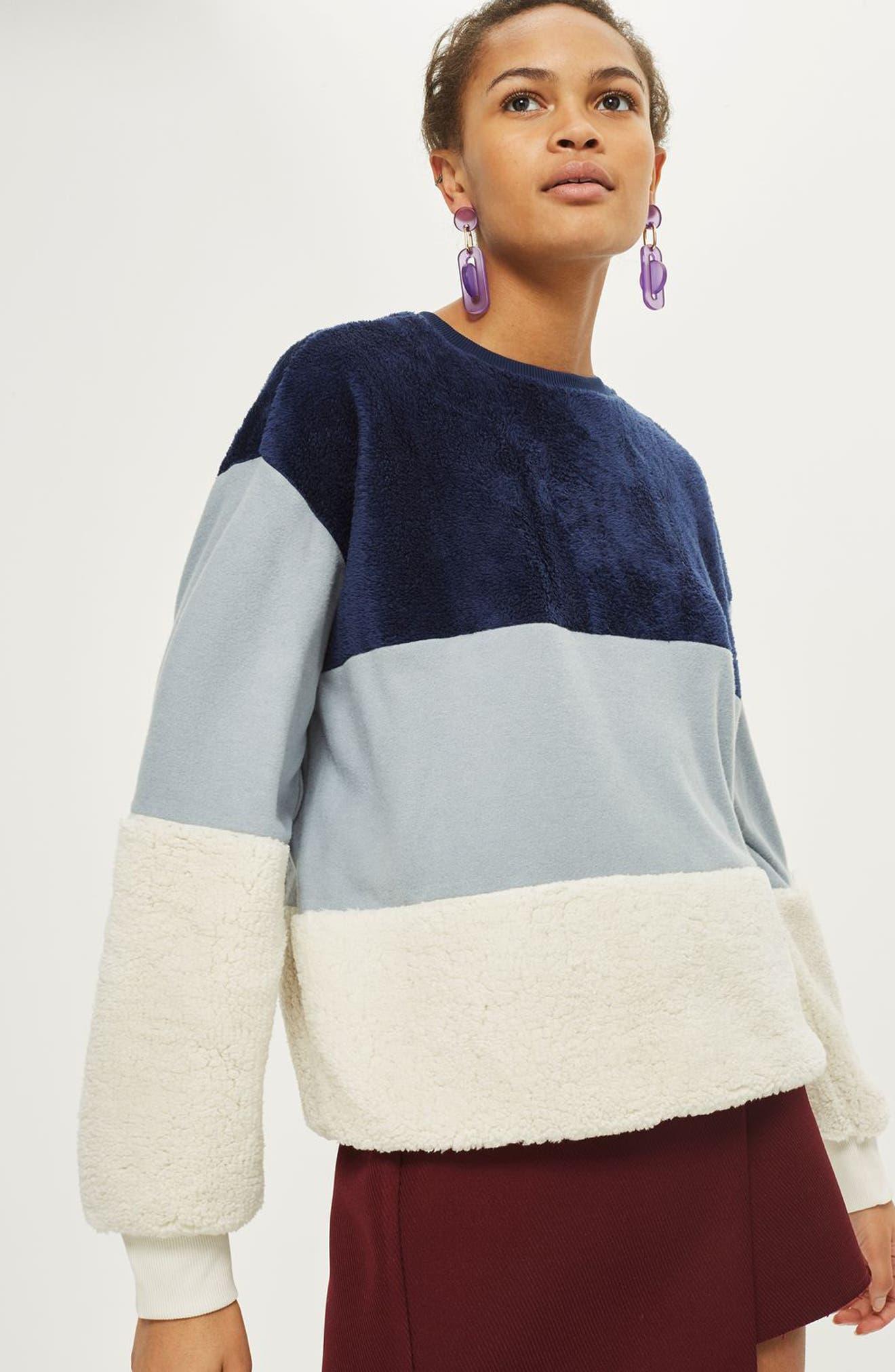 Alternate Image 3  - Topshop Colorblock Fleece Sweatshirt