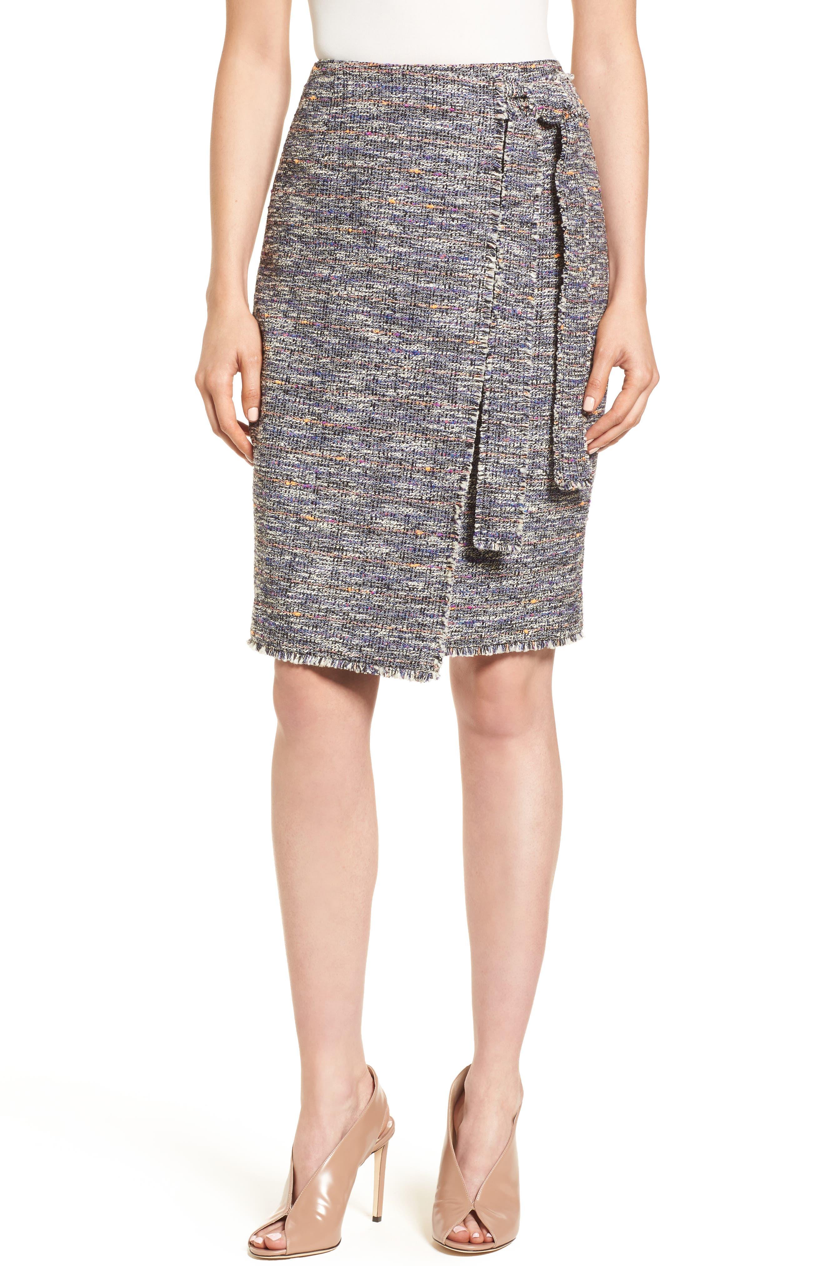 Tie Detail Pencil Skirt,                         Main,                         color, Black Multi Tweed