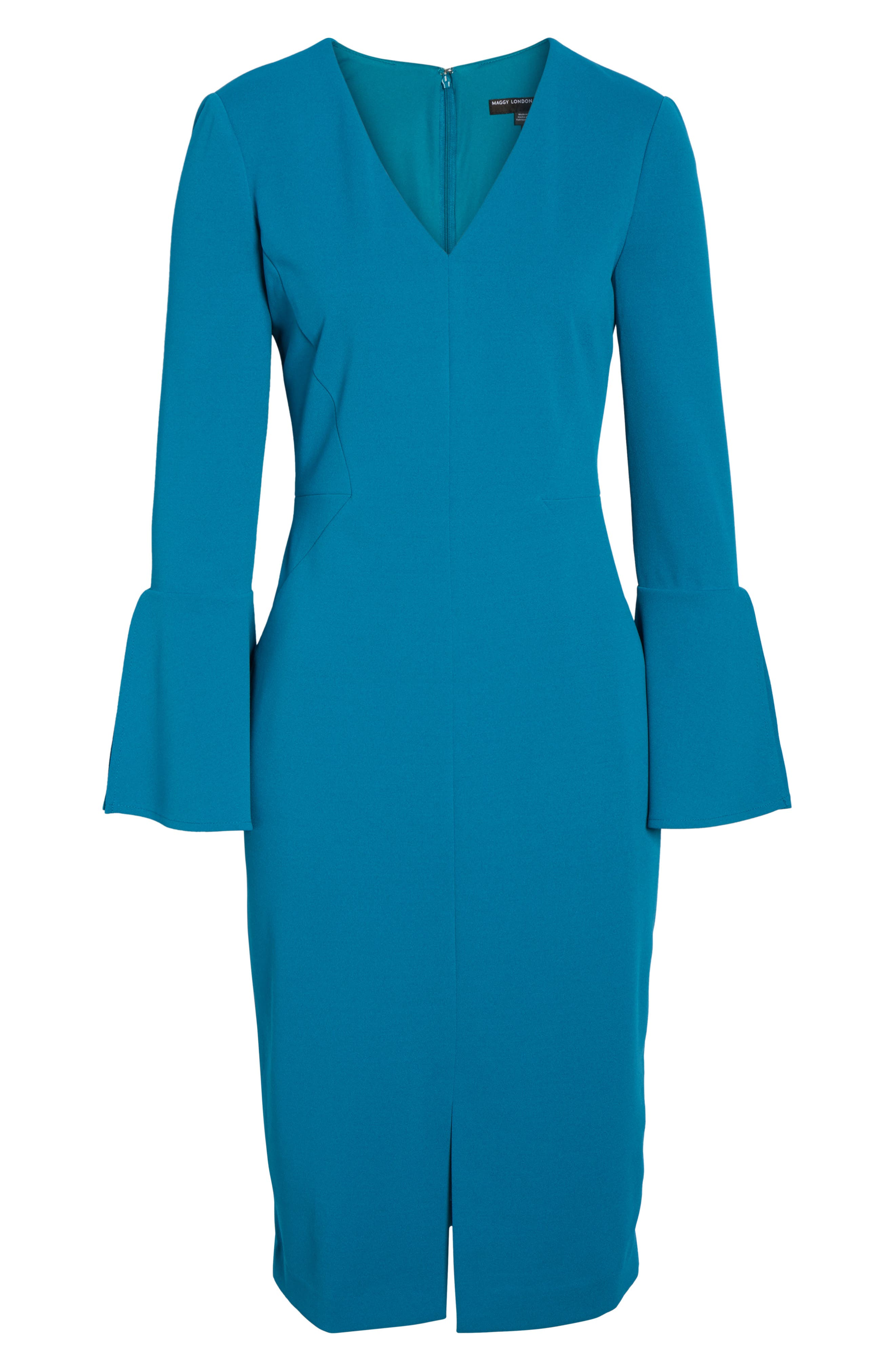 Bell Sleeve Sheath Dress,                             Alternate thumbnail 6, color,                             Teal