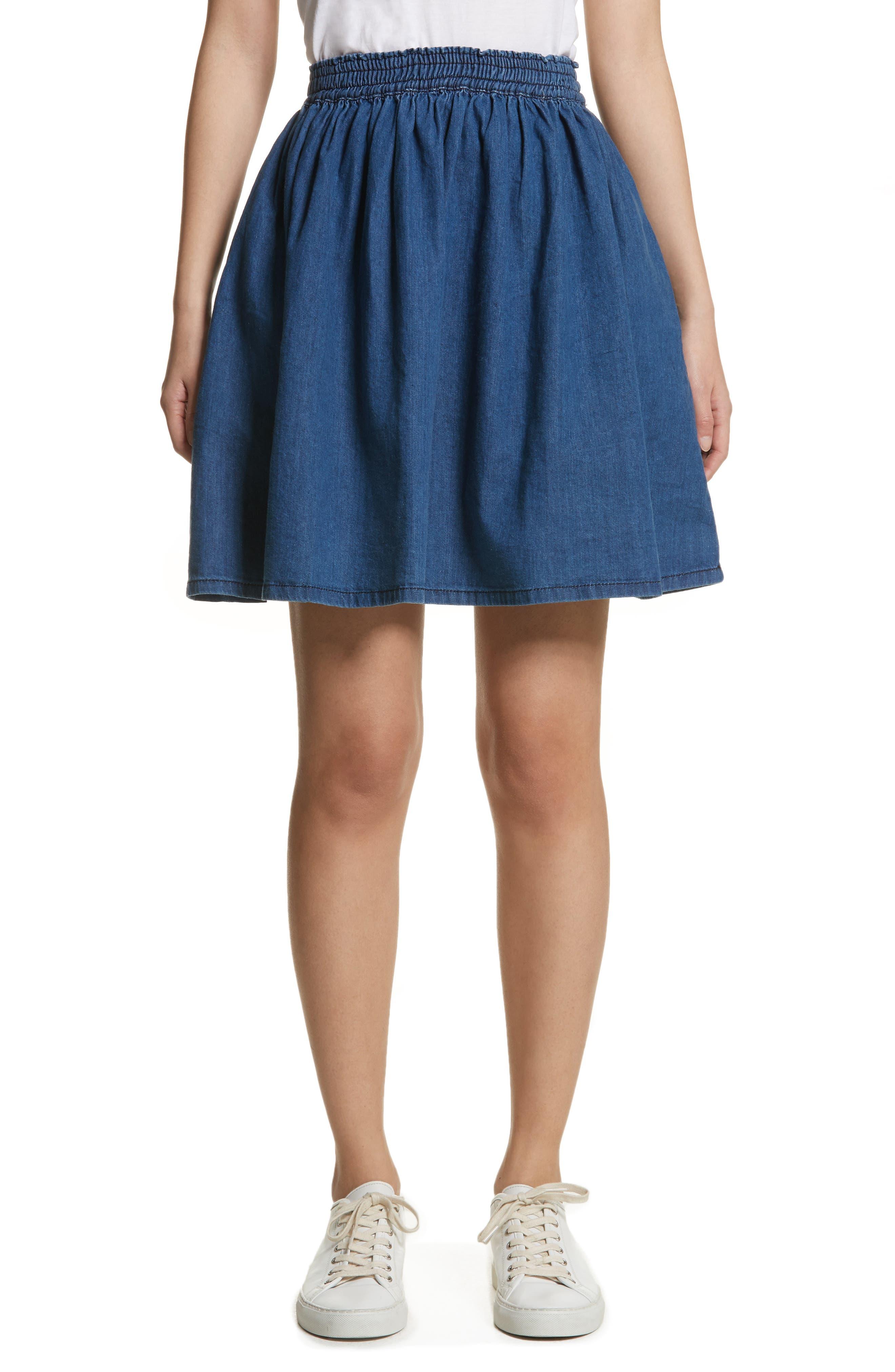The Great Court Denim Skirt,                             Main thumbnail 1, color,                             Vibrant Blue Wash