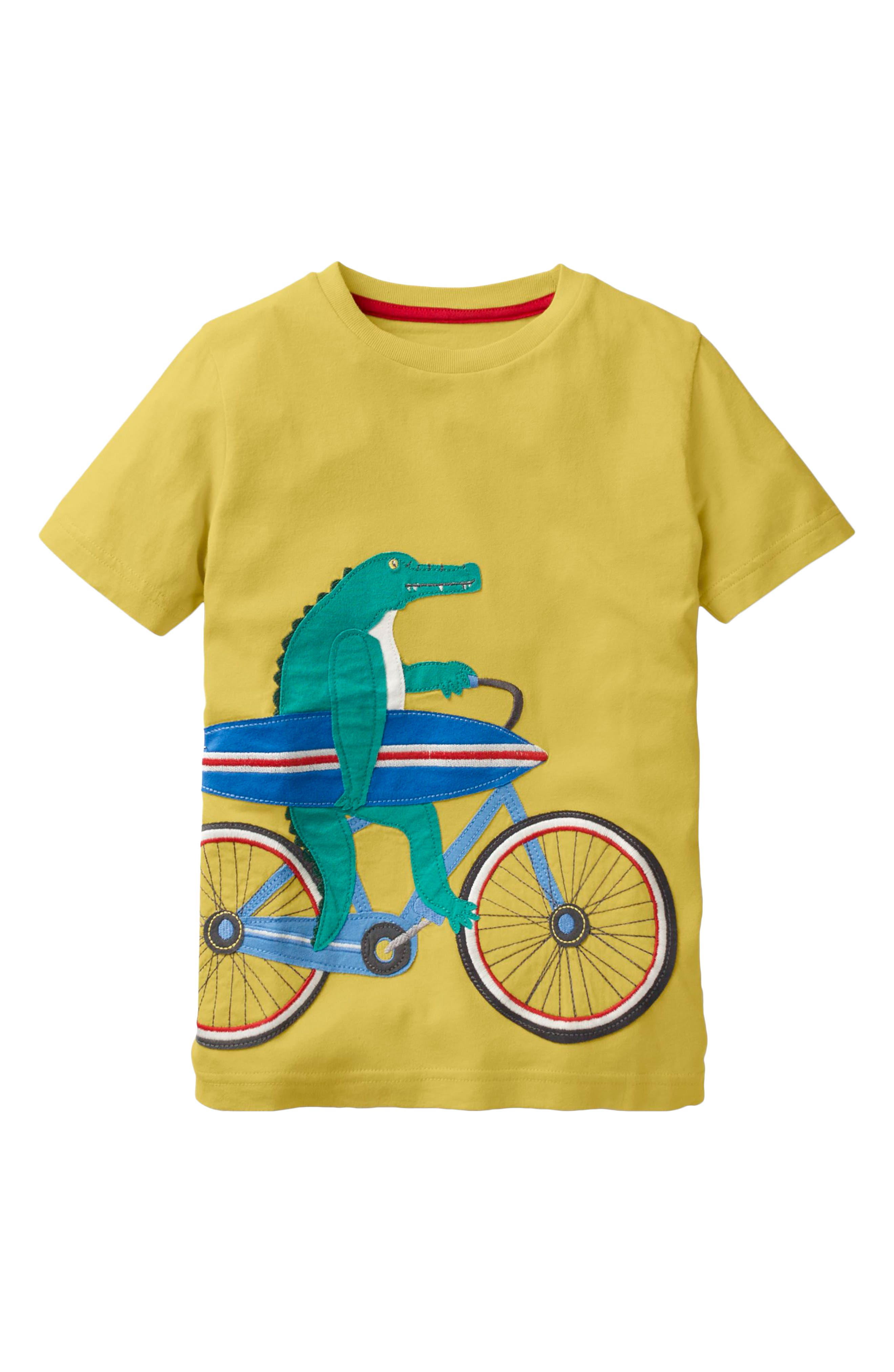 Bicycle Appliqué T-Shirt,                         Main,                         color, Sweetcorn Yellow Bicycle