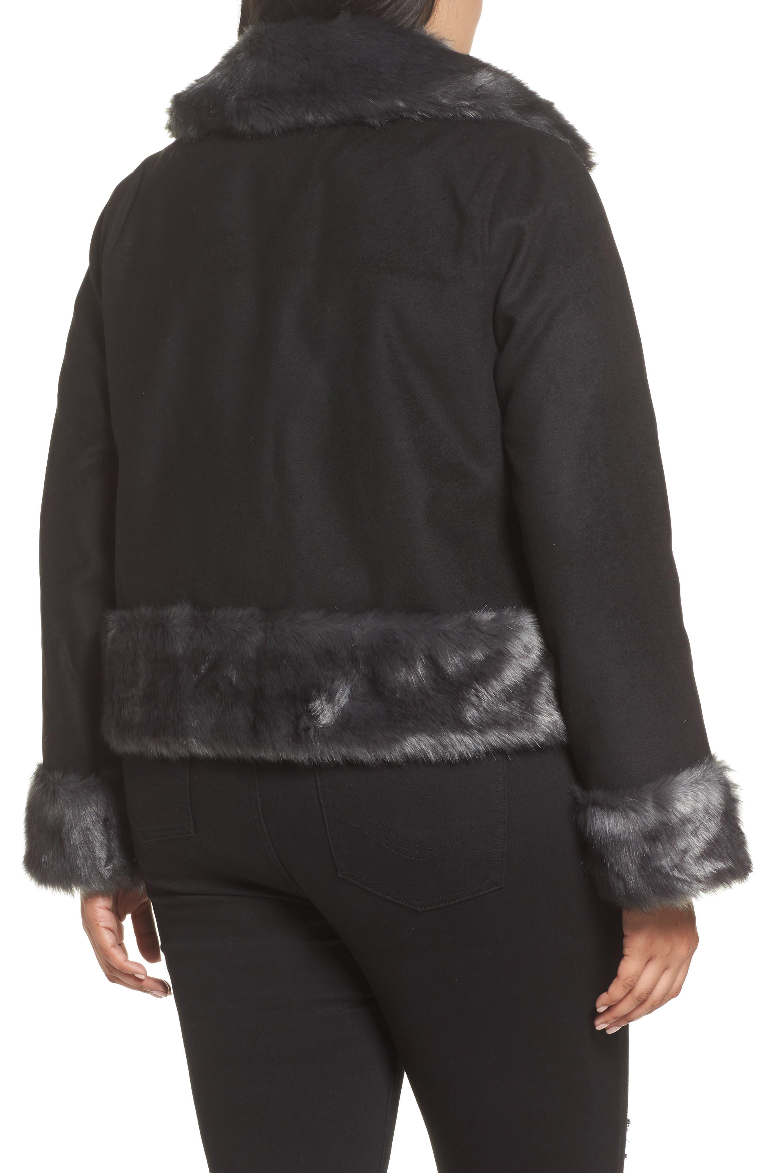 Jacket with Faux Fur Trim,                             Alternate thumbnail 2, color,                             Black