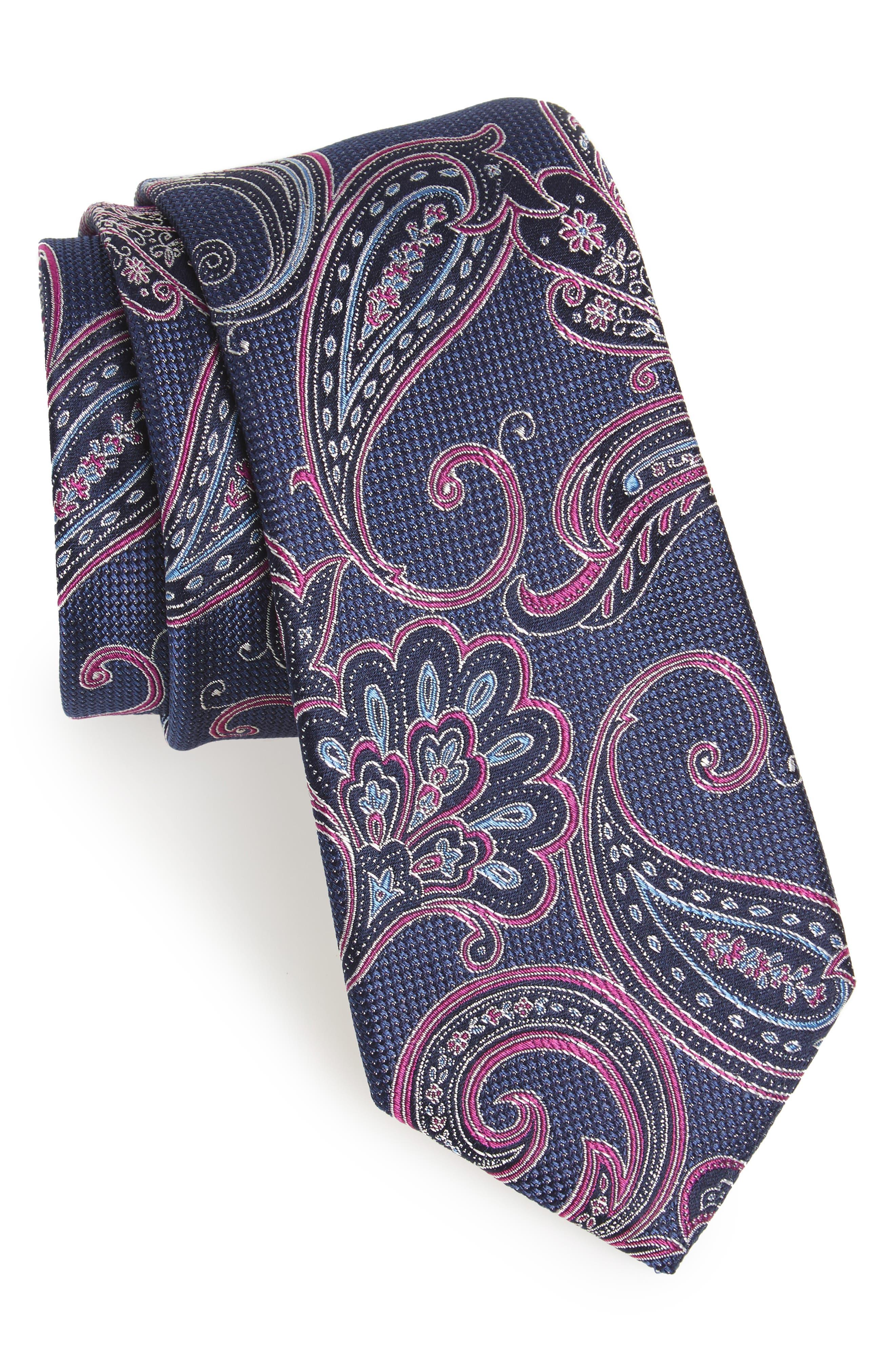 Bennett Paisley Silk Tie,                         Main,                         color, Dark Navy