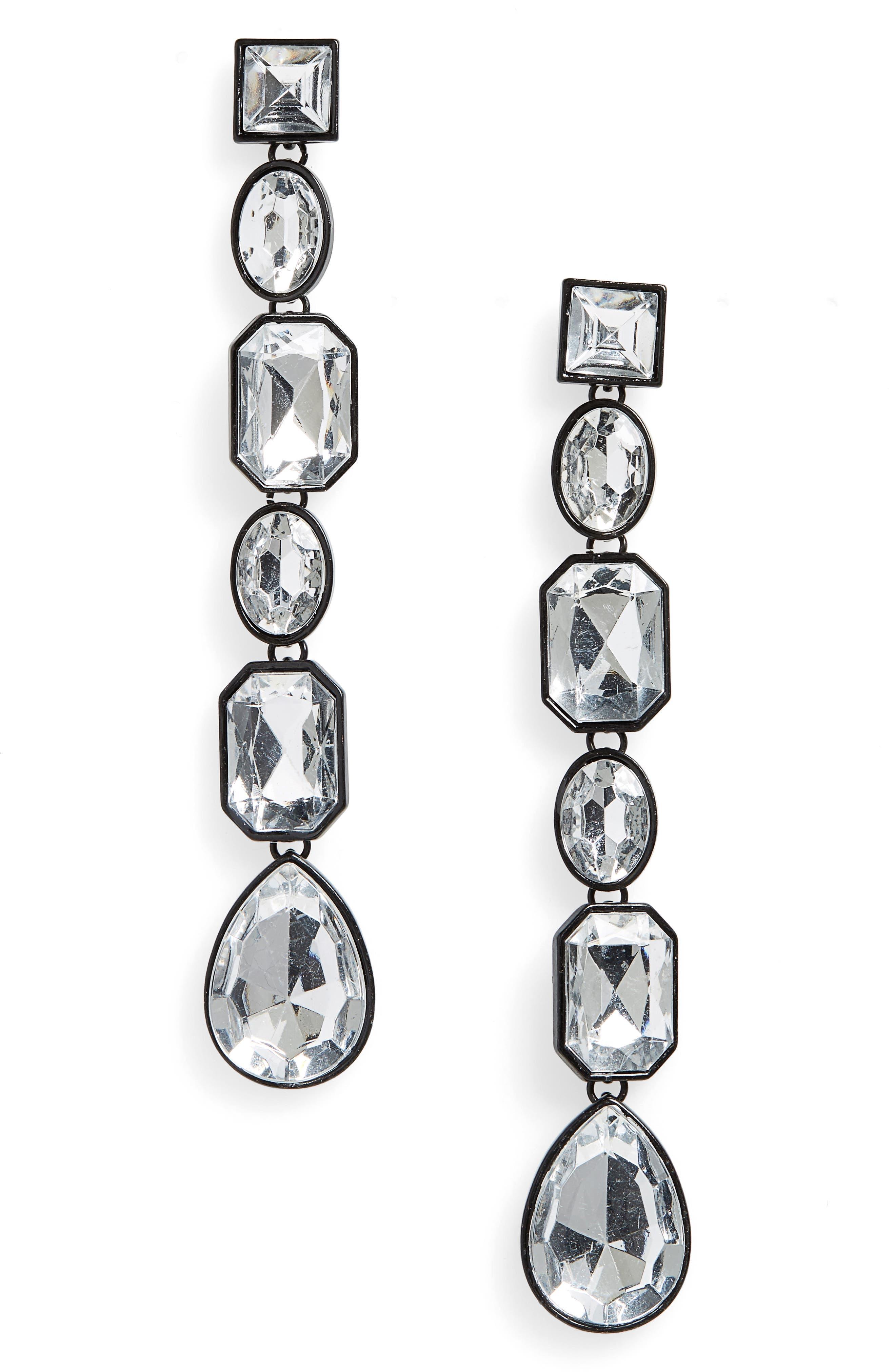 Geo Crystal Drop Earrings,                         Main,                         color, Black/ Clear