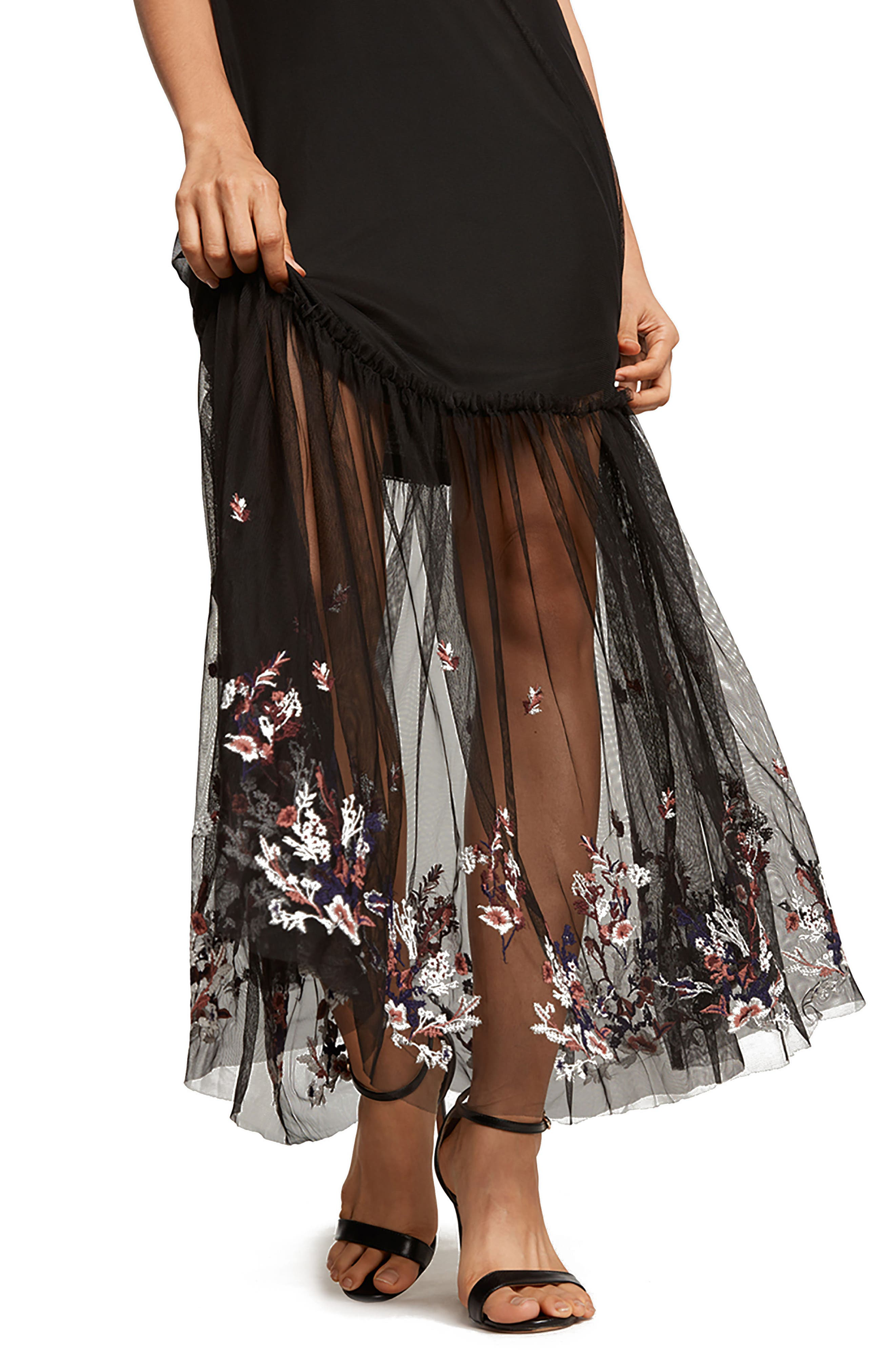 Alternate Image 3  - Willow & Clay Embroidered Mesh Maxi Dress
