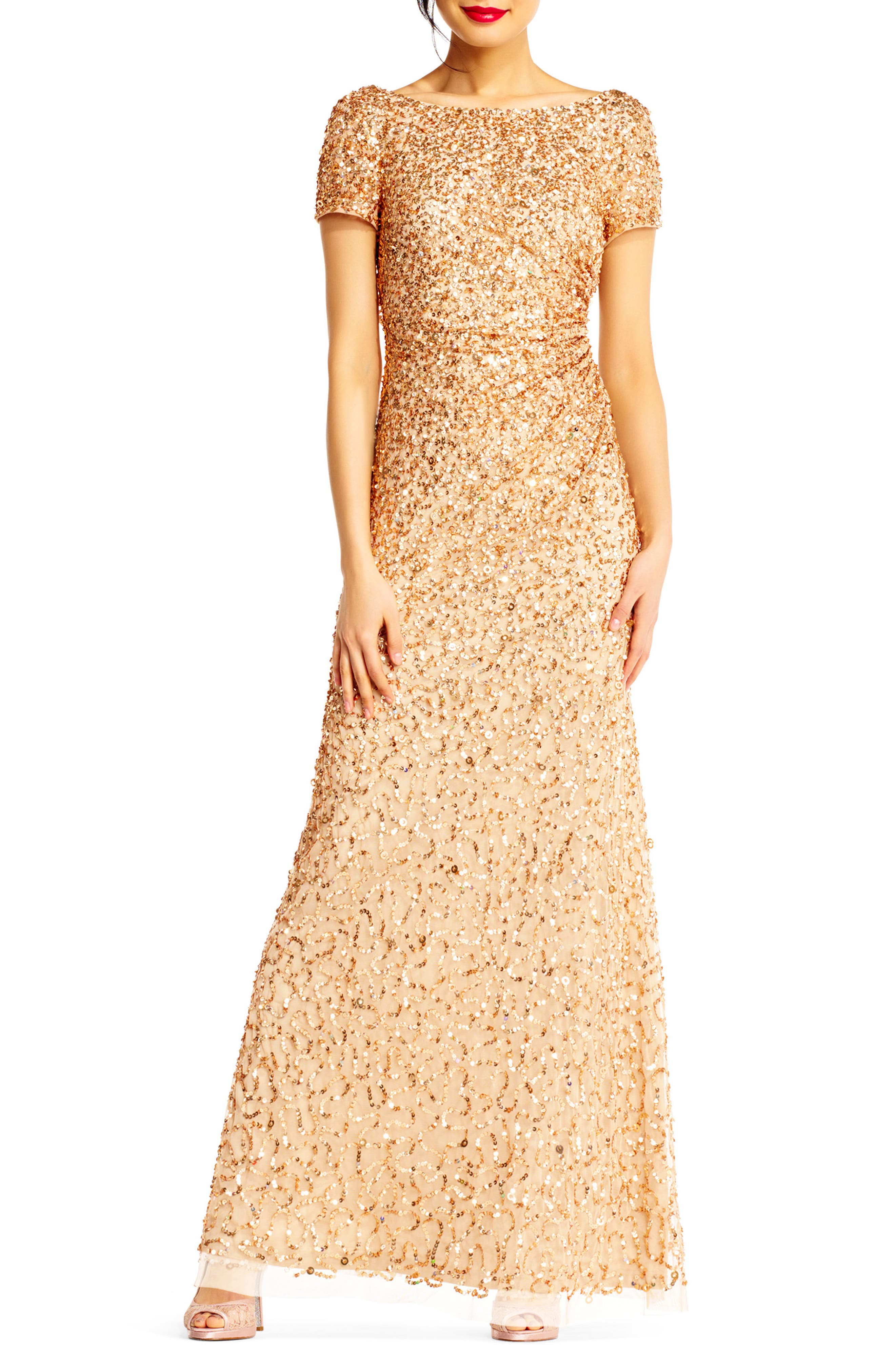 Sequin Cowl Back Gown,                         Main,                         color, Champagne/ Gold