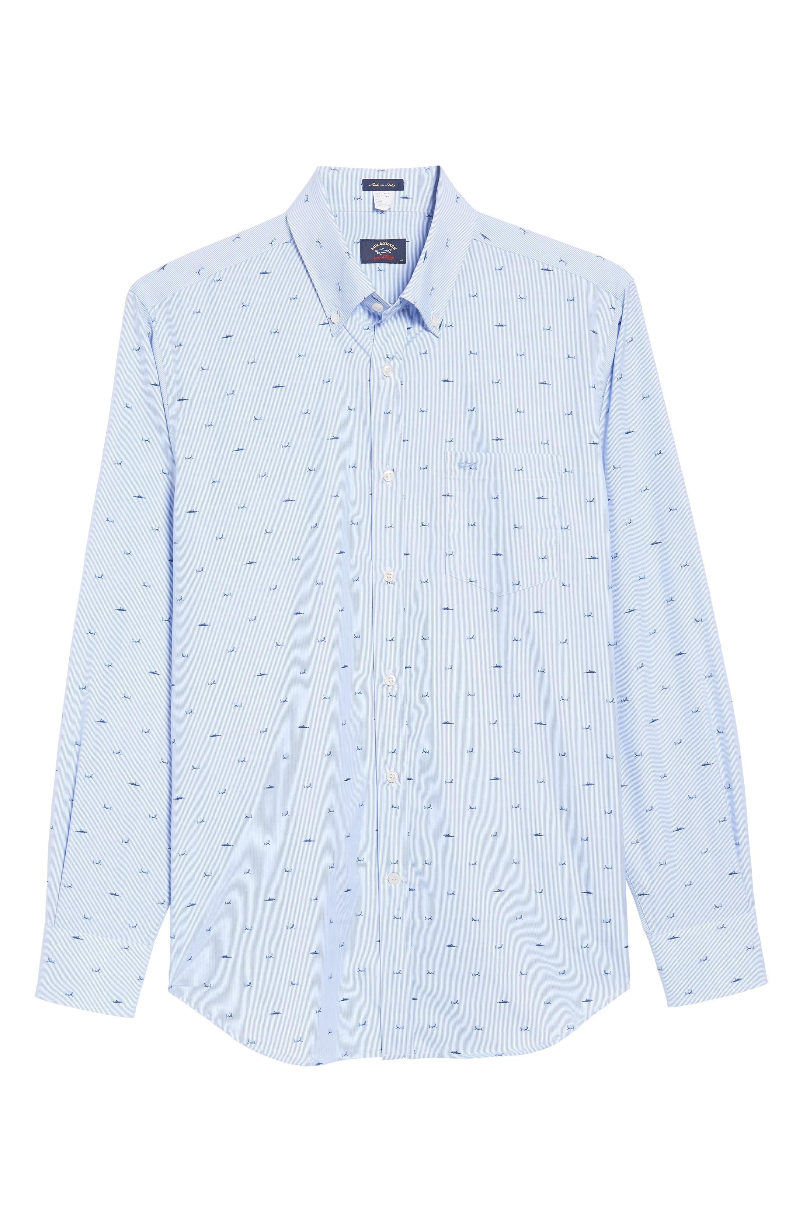 Paul&Shark Great White Jacquard Sport Shirt,                             Alternate thumbnail 6, color,                             Blue