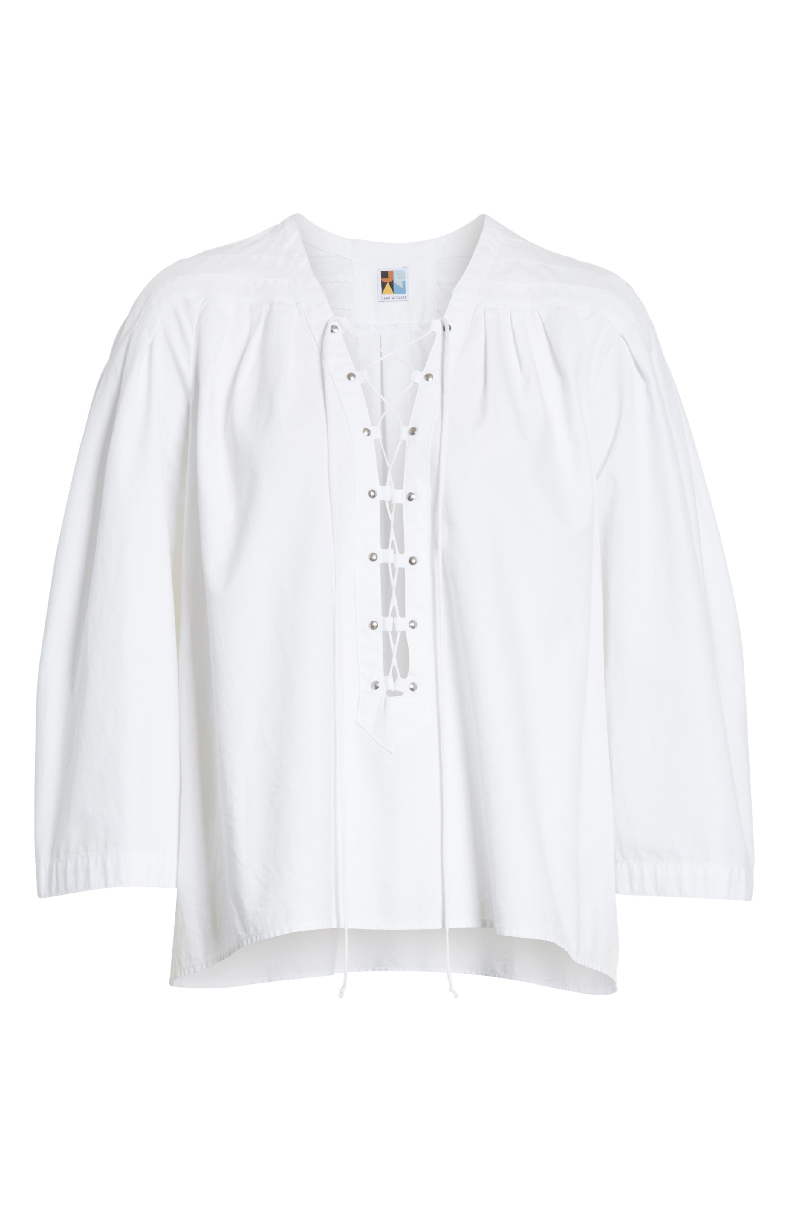 Ilona Lace-Up Cotton Top,                             Alternate thumbnail 7, color,                             White