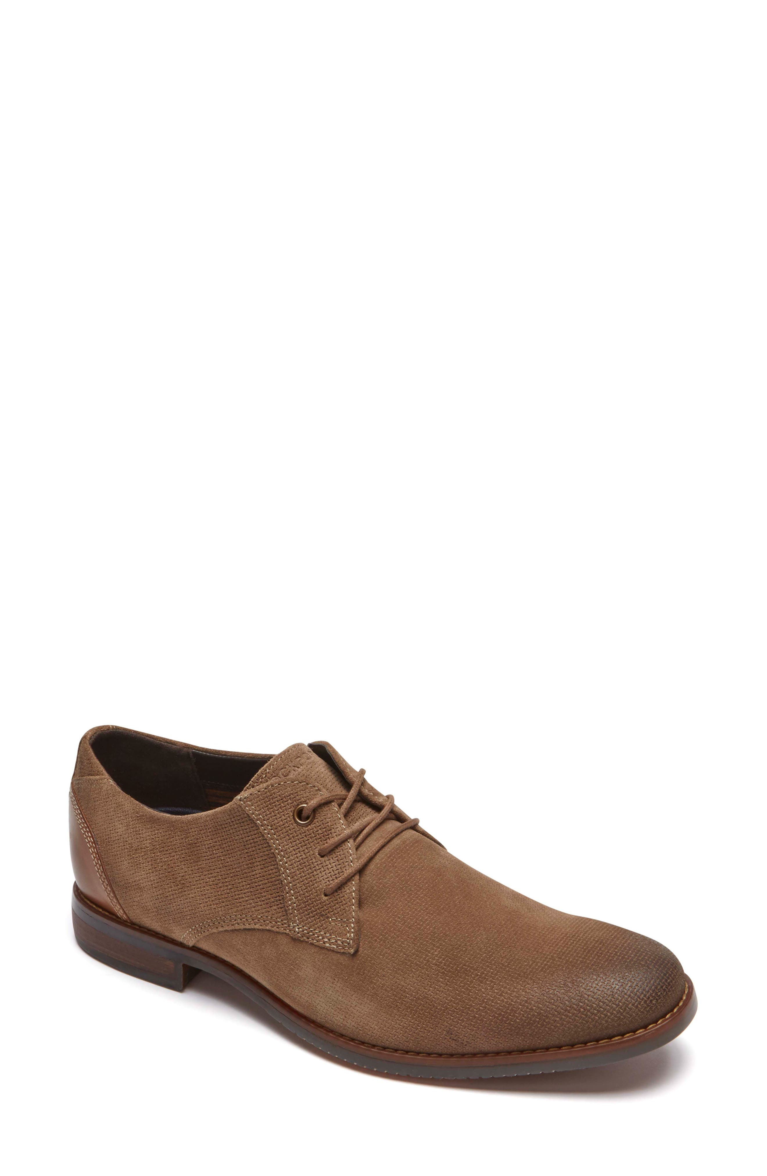 Style Purpose Plain Toe Derby,                             Main thumbnail 1, color,                             New Brown Suede