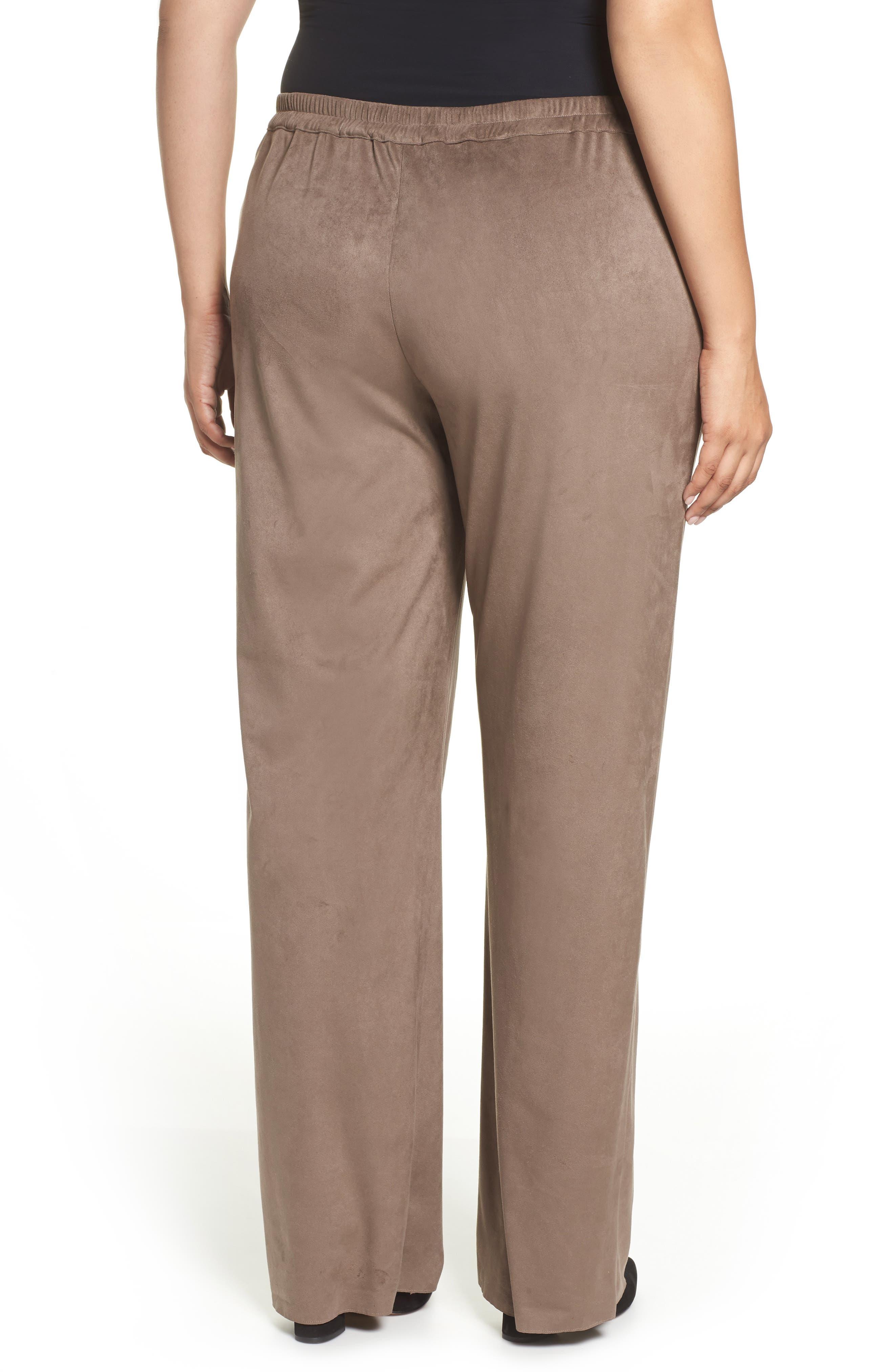 Rosa Faux Suede Knit Pants,                             Alternate thumbnail 2, color,                             Dark Beige