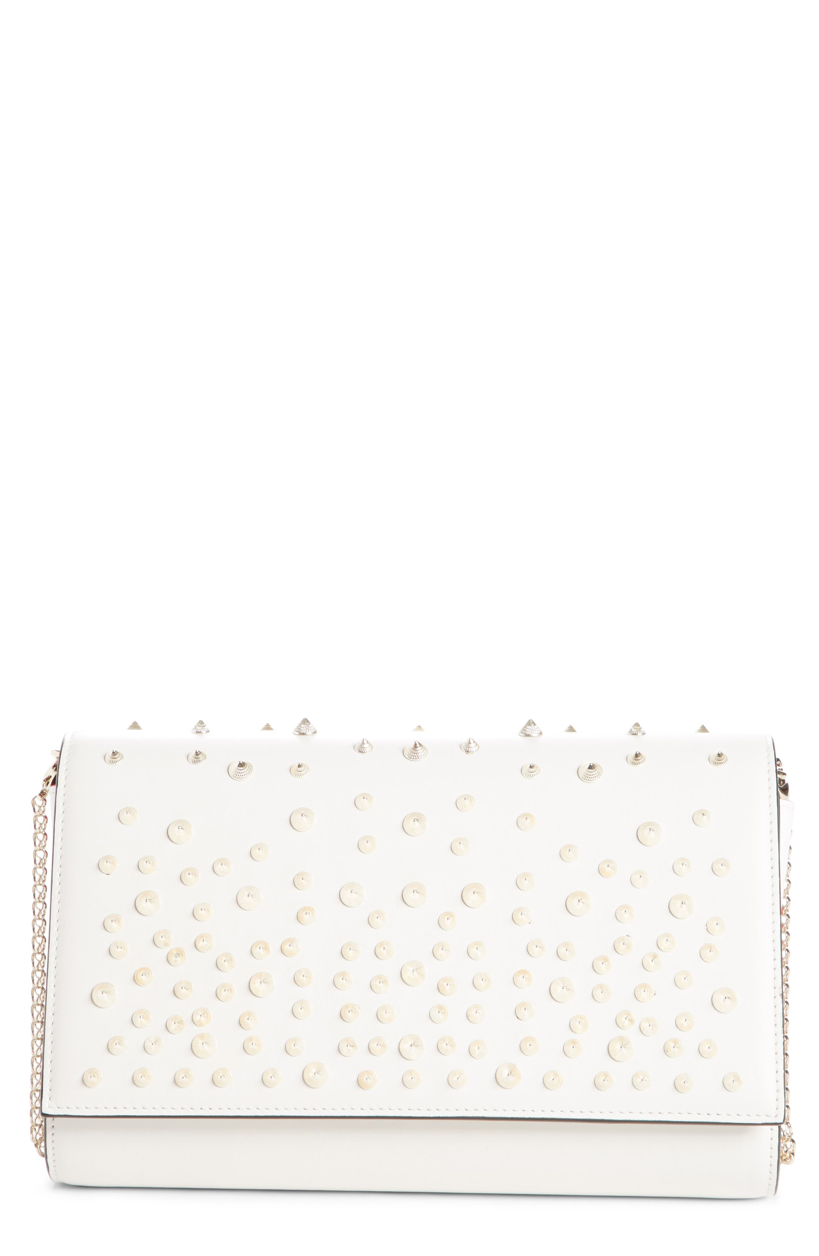 PALOMA SPIKED CALFSKIN CLUTCH - WHITE