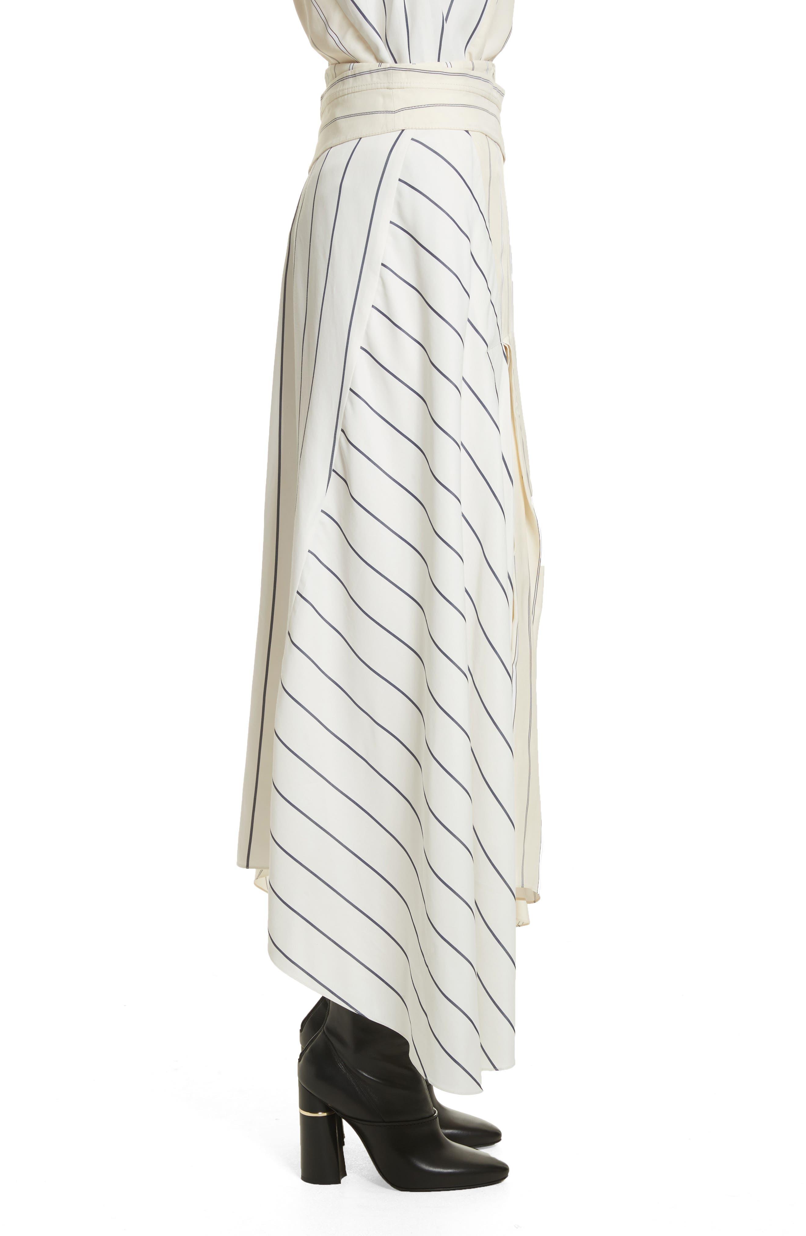 Mixed Stripe Asymmetrical Skirt,                             Alternate thumbnail 3, color,                             Ivory/ Black