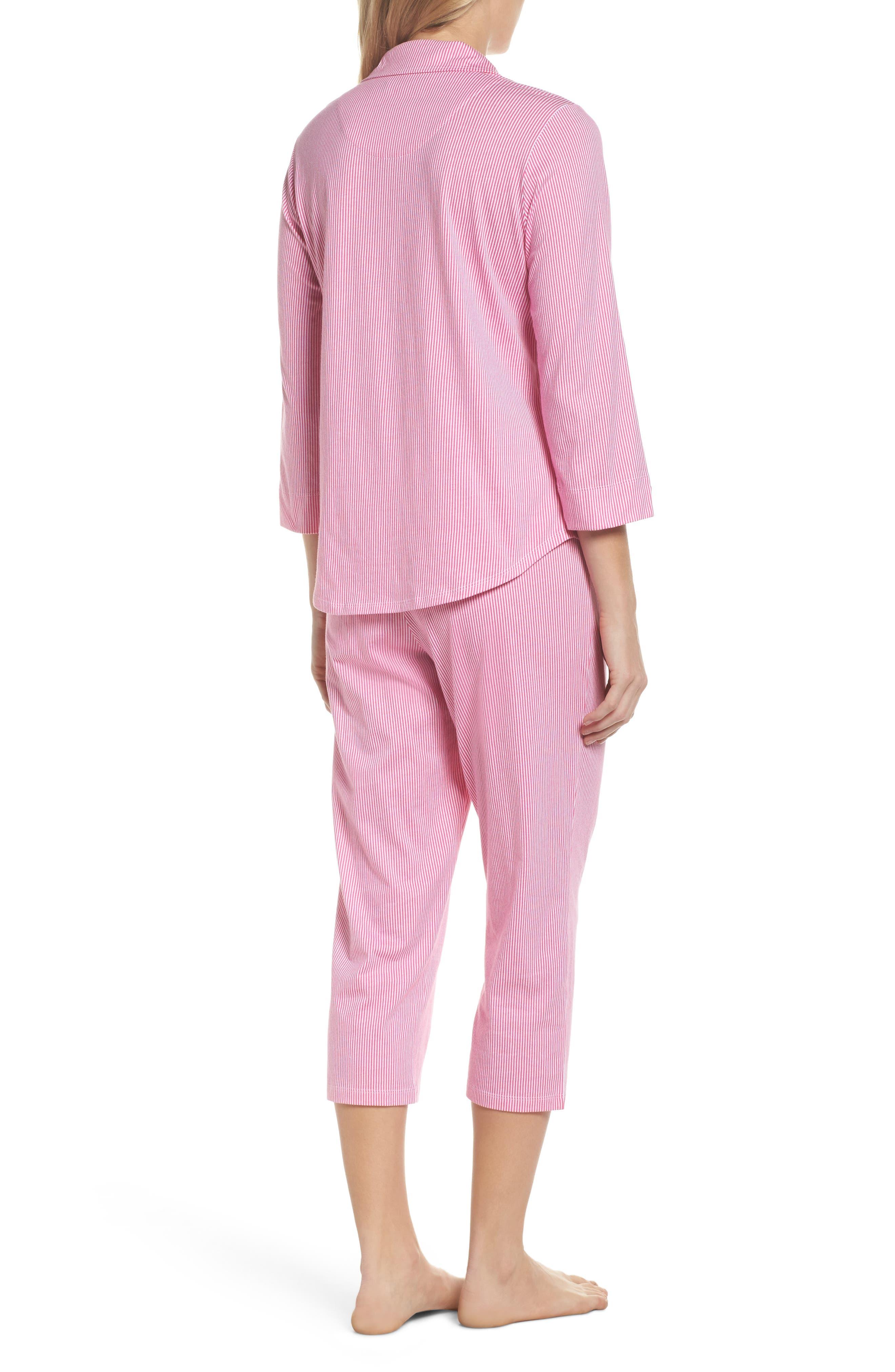 Crop Pajamas,                             Alternate thumbnail 2, color,                             Pink Stripe
