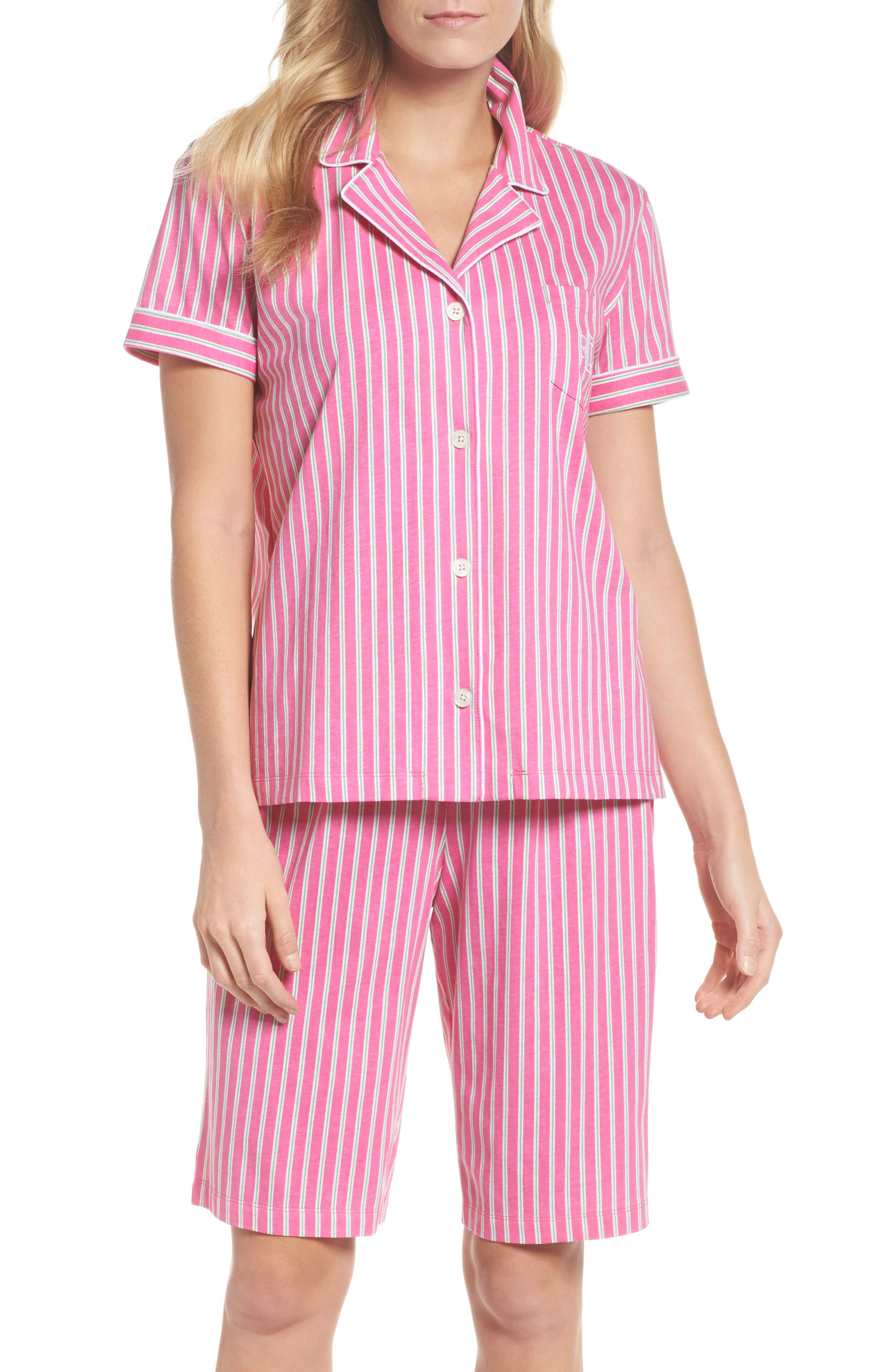 Bermuda Pajamas,                         Main,                         color, Pink Stripe