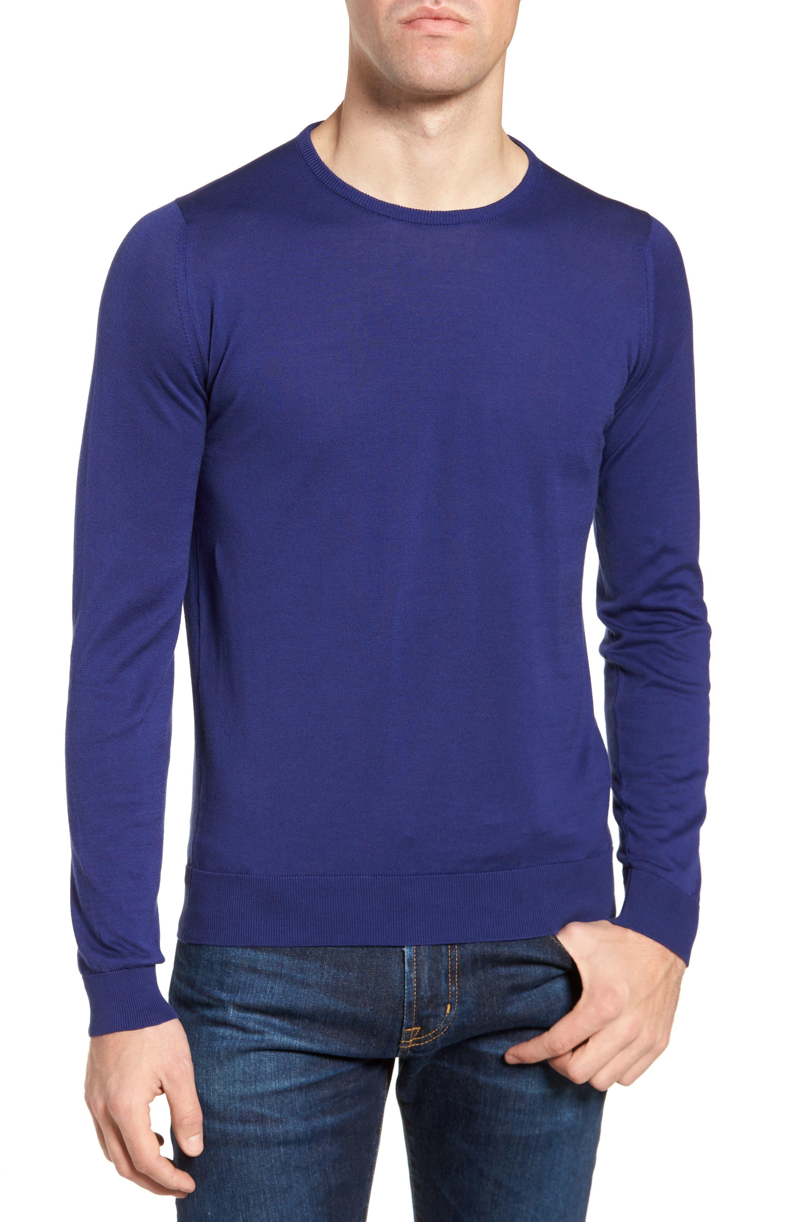 Crewneck Sweater,                         Main,                         color, Serge Blue
