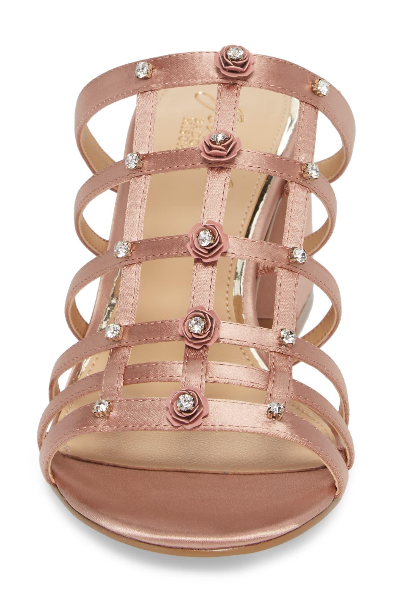 Thorne Crystal Rose Embellished Slide Sandal,                             Alternate thumbnail 4, color,                             Dark Blush Satin