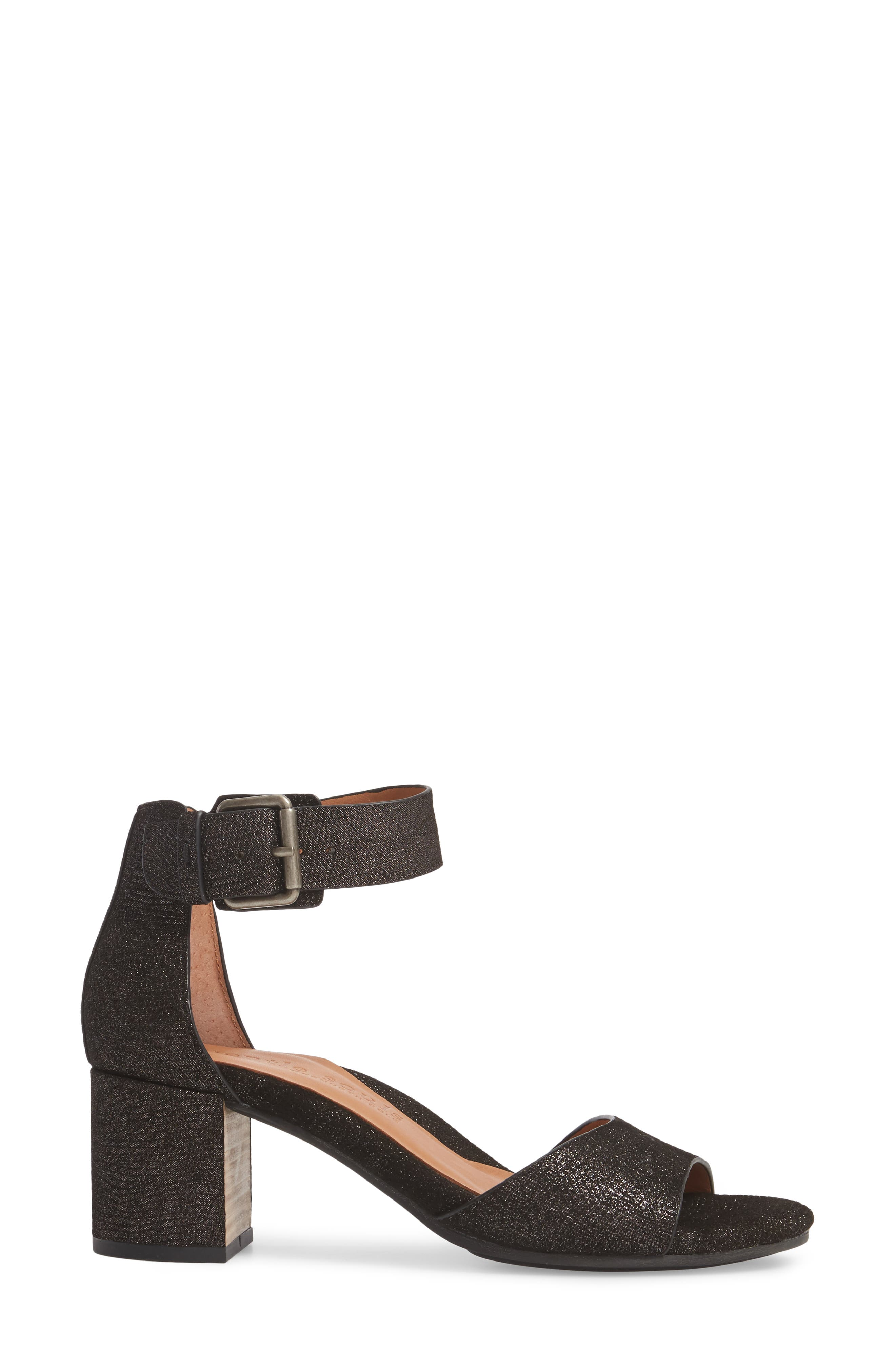 by Kenneth Cole Christa Block Heel Sandal,                             Alternate thumbnail 3, color,                             Black Embossed Leather