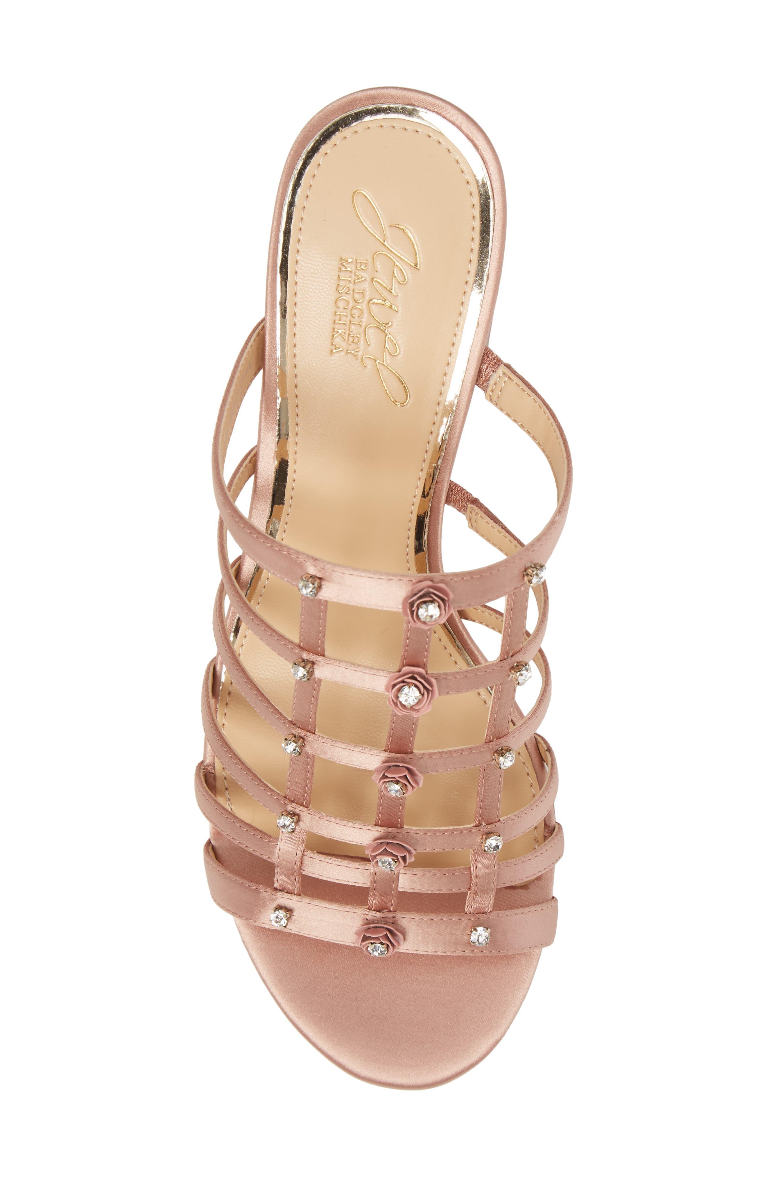 Thorne Crystal Rose Embellished Slide Sandal,                             Alternate thumbnail 5, color,                             Dark Blush Satin
