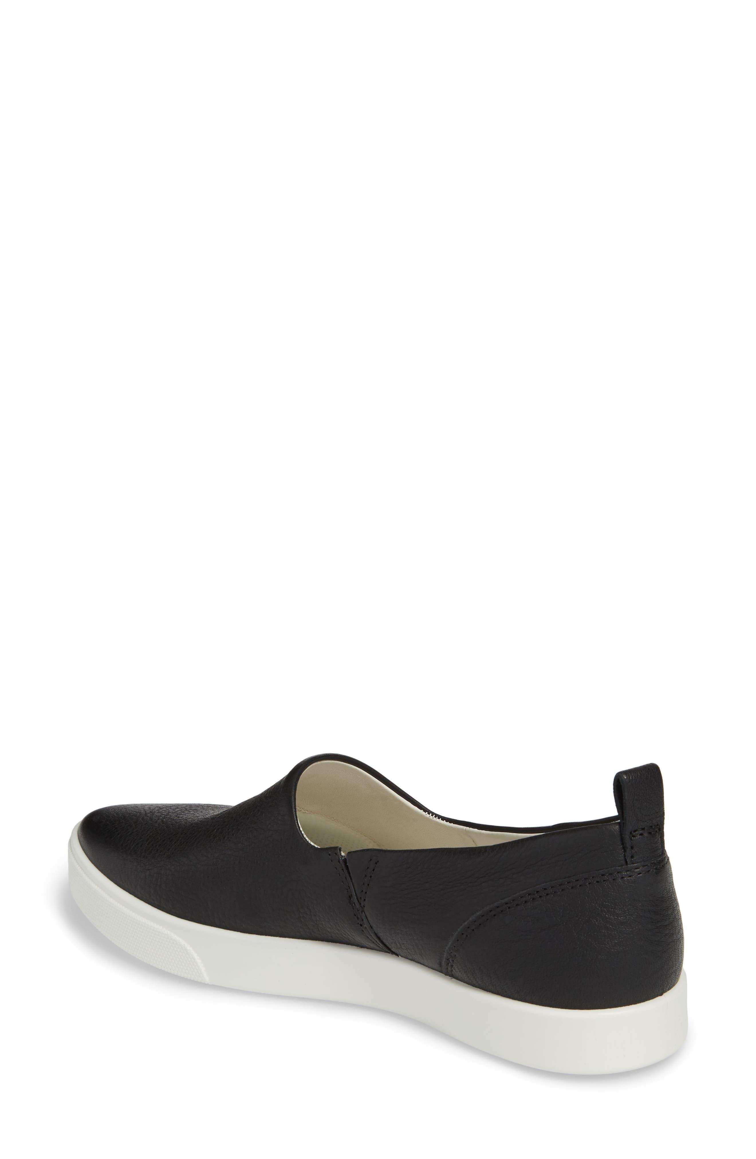 Gillian Slip-On Sneaker,                             Alternate thumbnail 2, color,                             Black Leather