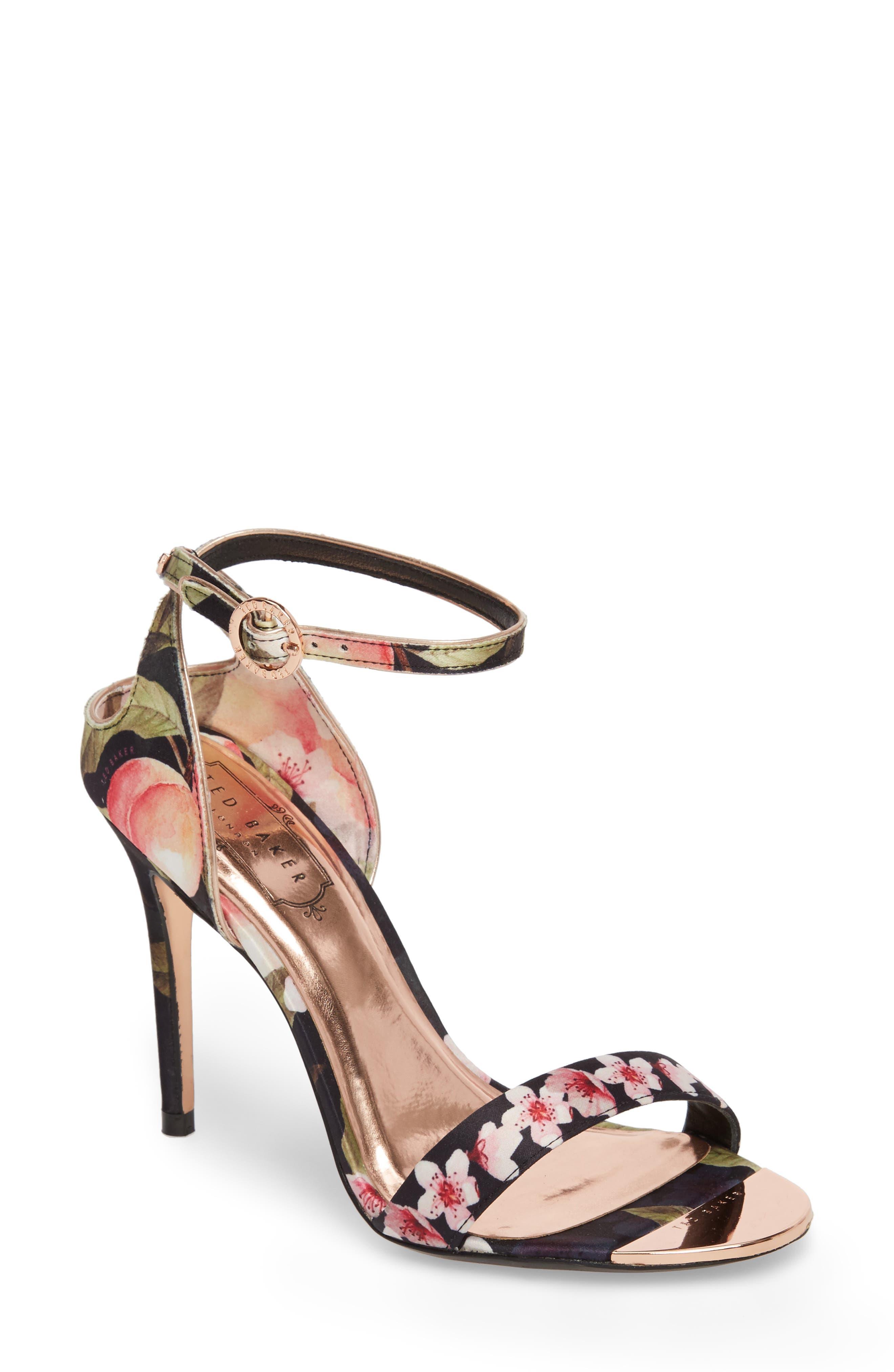 Mirobep Sandal,                         Main,                         color, Peach Blossom Black Satin
