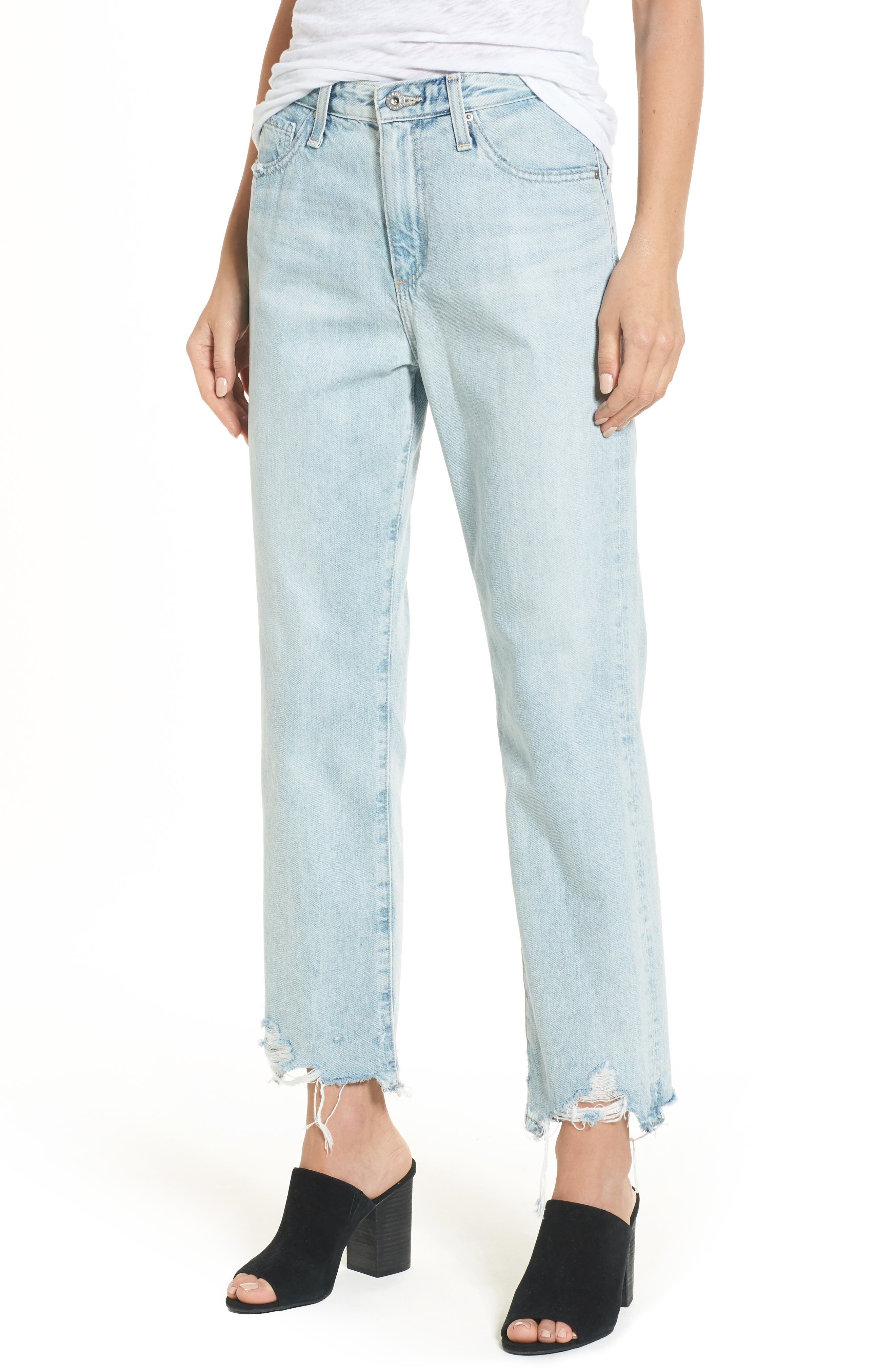 Alternate Image 1 Selected - AG The Phoebe High Rise Straight Leg Jeans (Bering Wave)