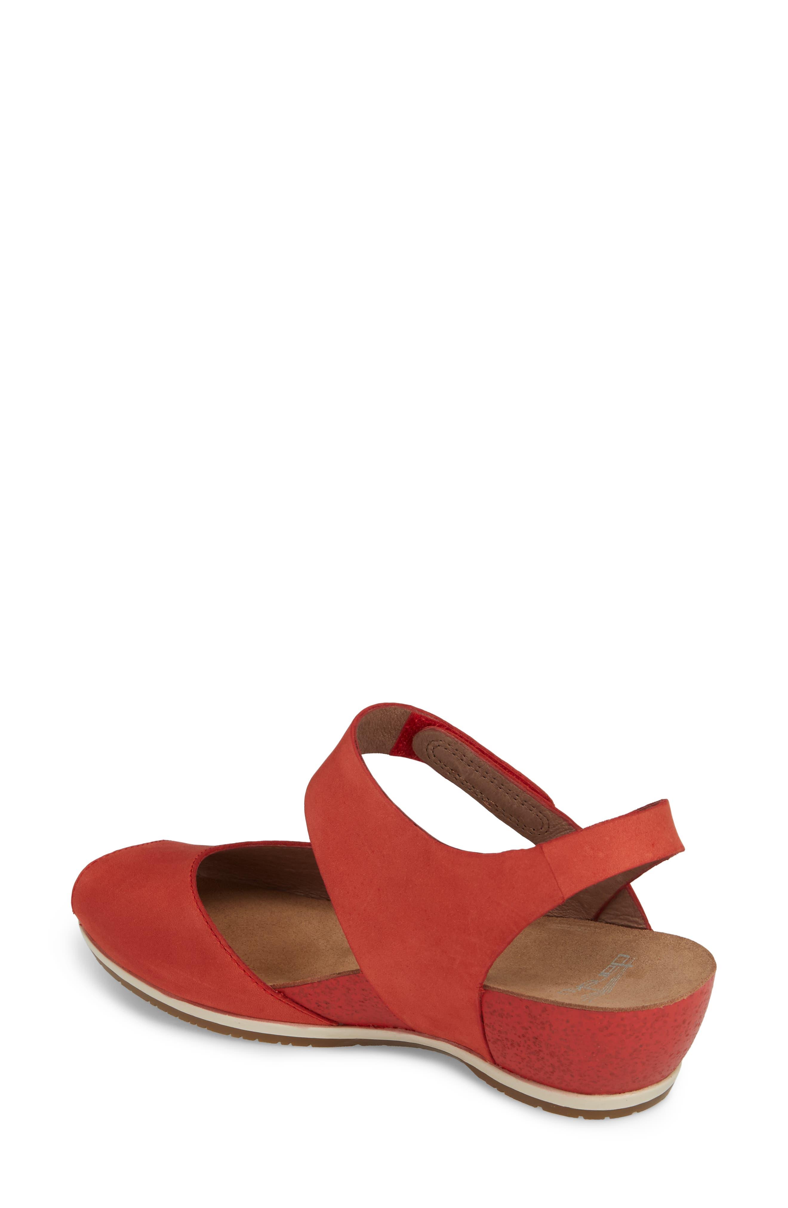 Vera Sandal,                             Alternate thumbnail 2, color,                             Tomato Milled Nubuck Leather