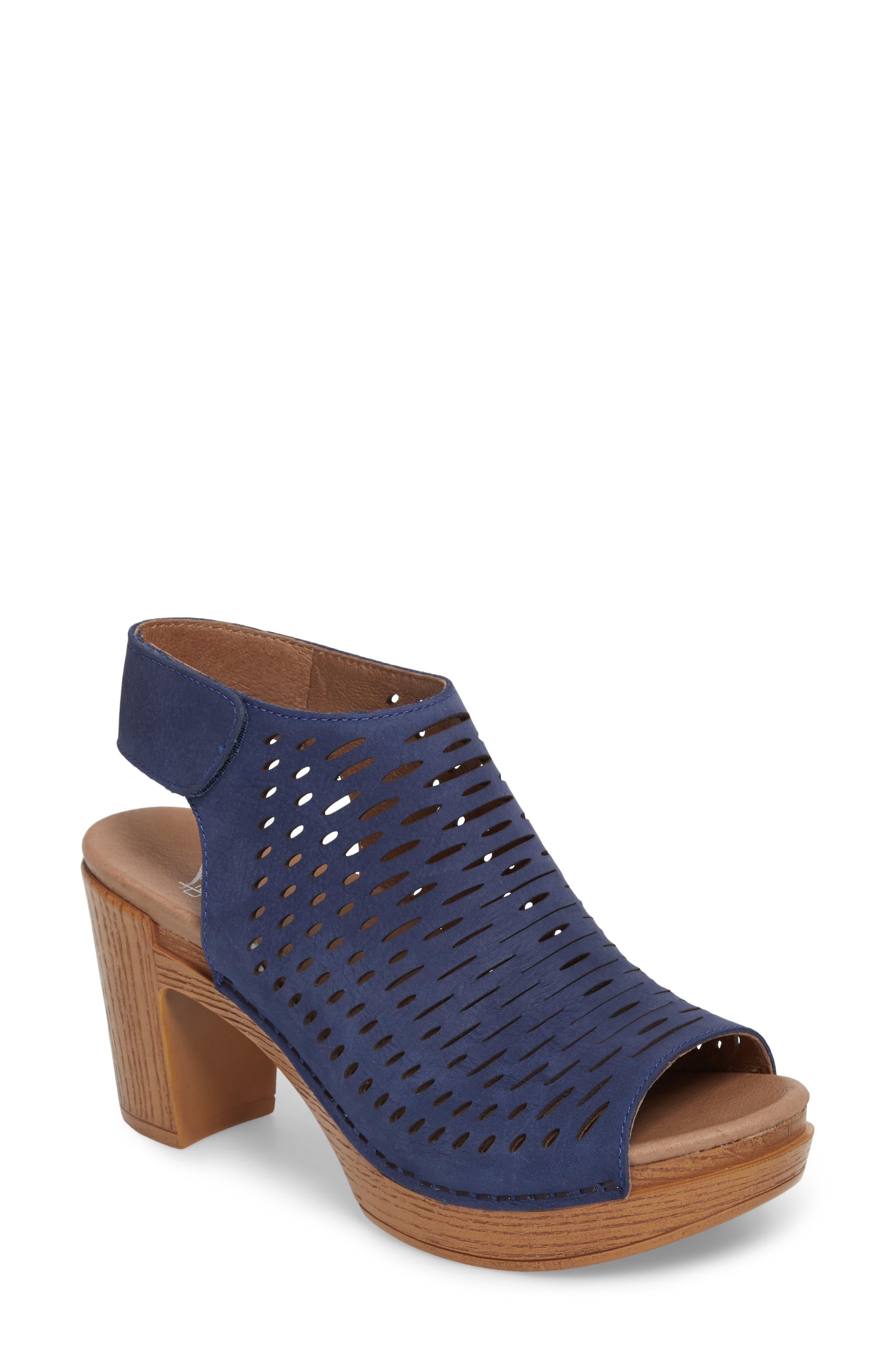 Danae Block Heel Sandal,                         Main,                         color, Blue Milled Nubuck Leather