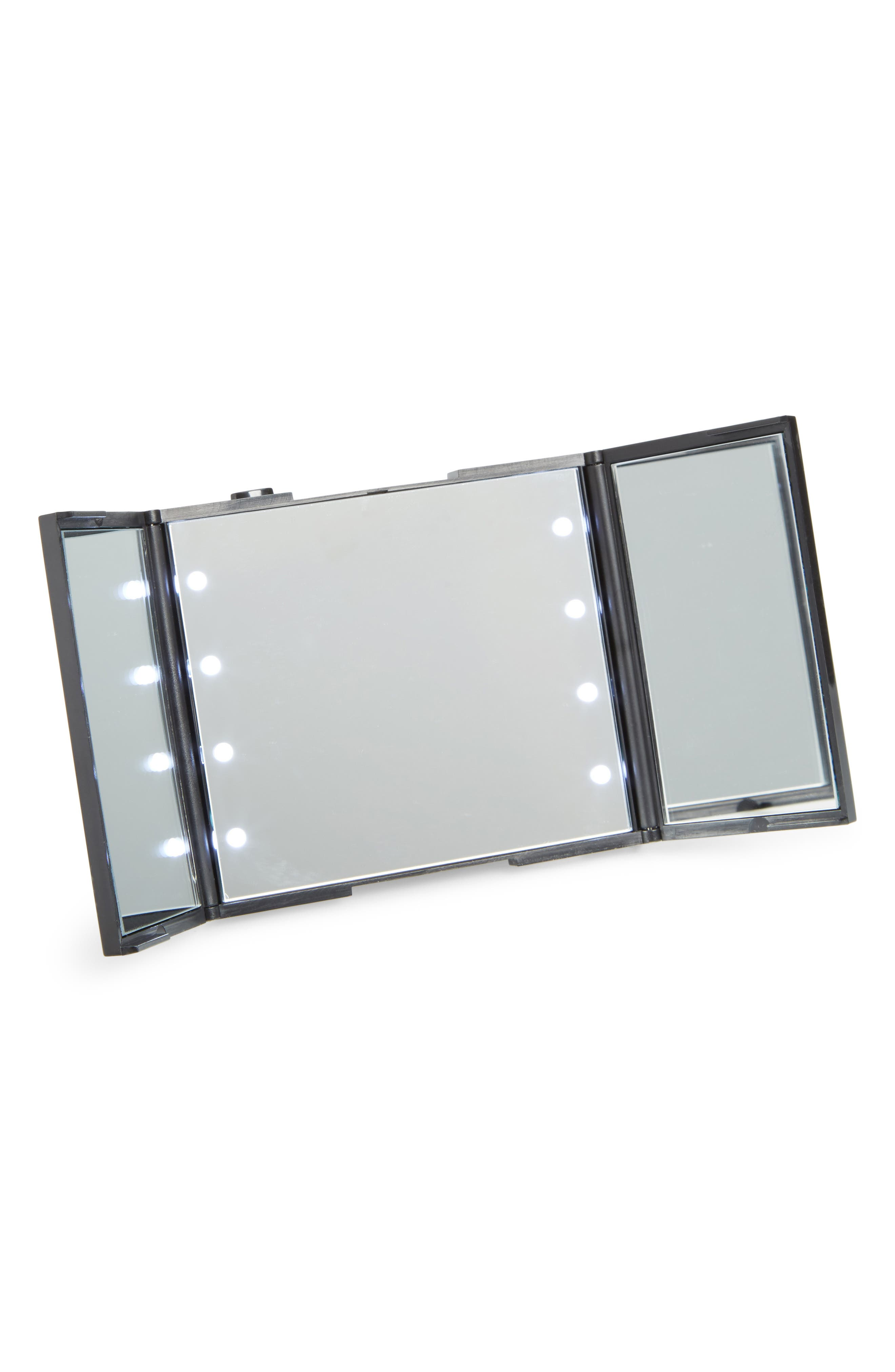 Alternate Image 1 Selected - Impressions Vanity Co. Trifold Compact LED Makeup Mirror with Stand