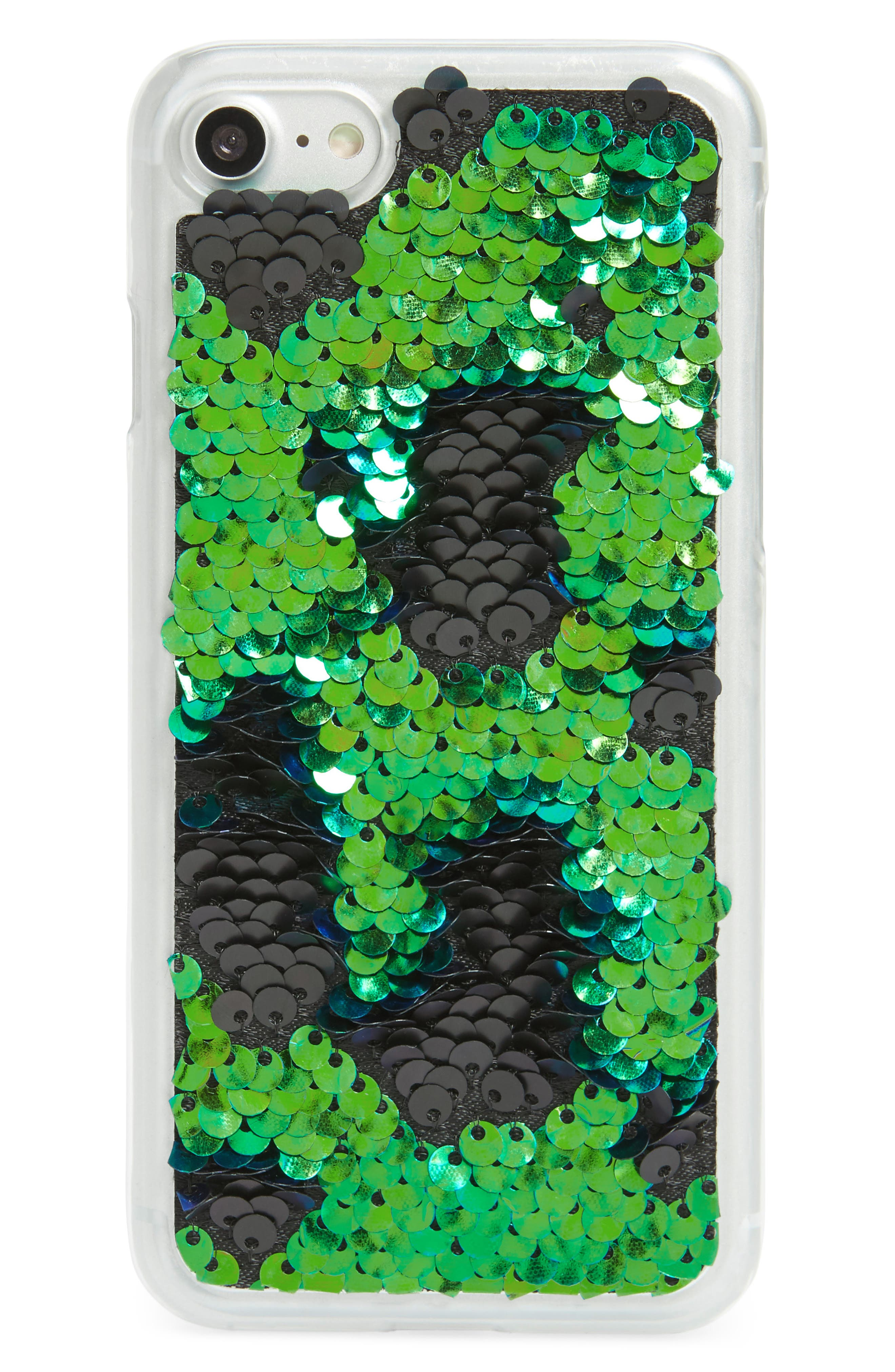 Sequin iPhone 7/8 Case,                         Main,                         color, Blue Multi