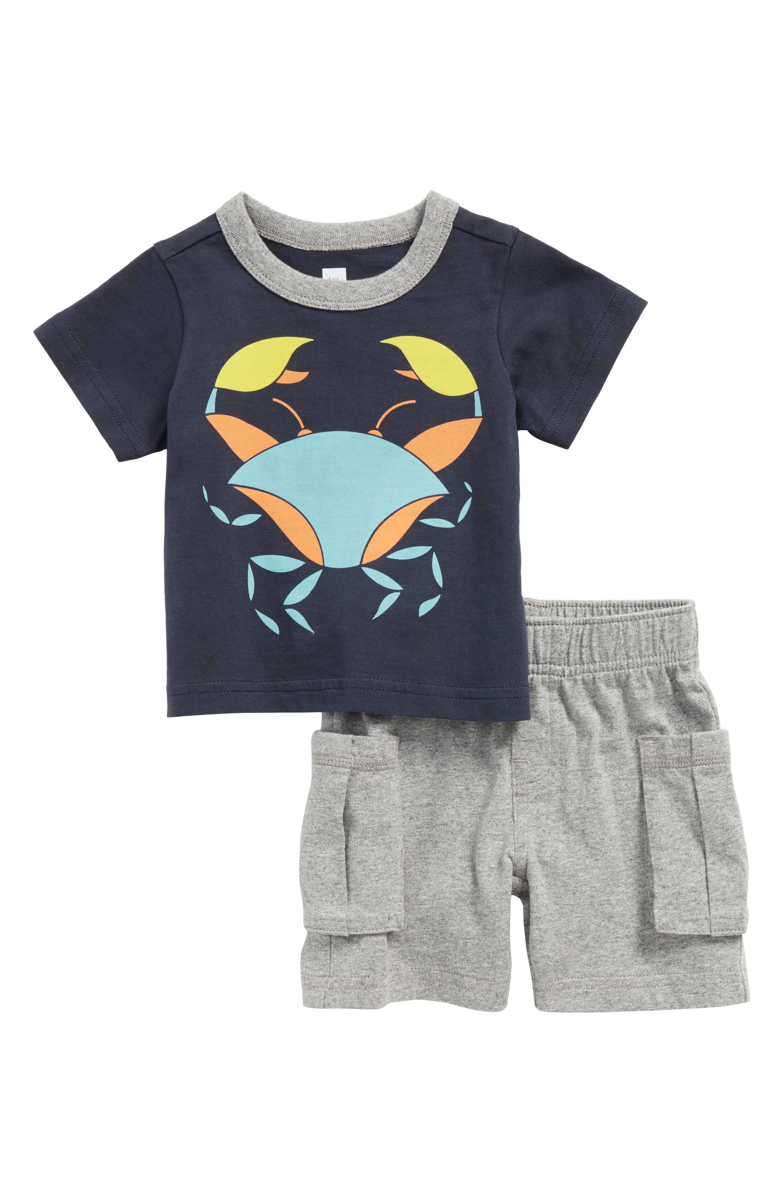 Little Crab T-Shirt & Cargo Shorts Set,                         Main,                         color, Indigo