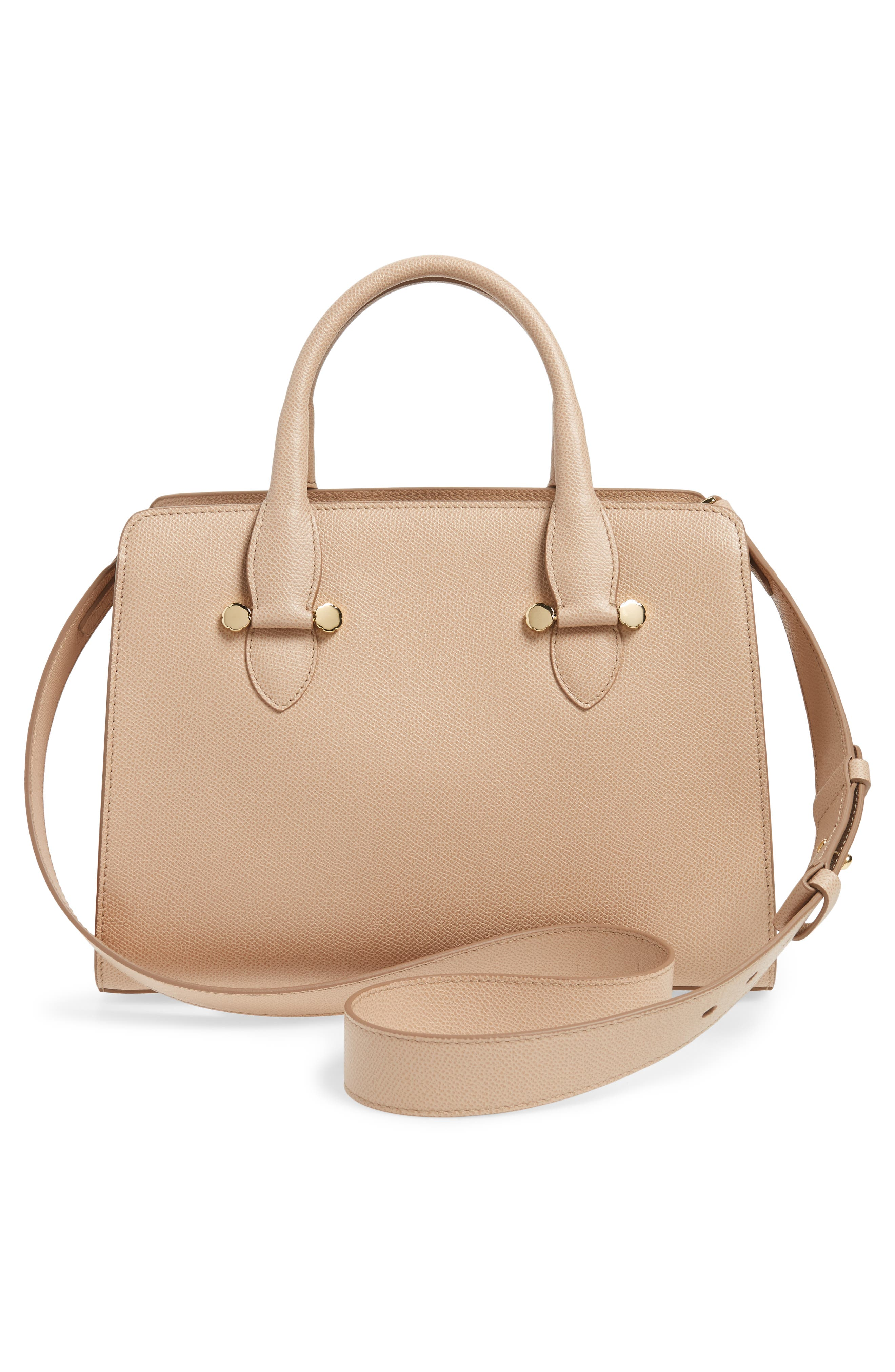 Small Today Leather Satchel,                             Alternate thumbnail 3, color,                             Almond/ Sable